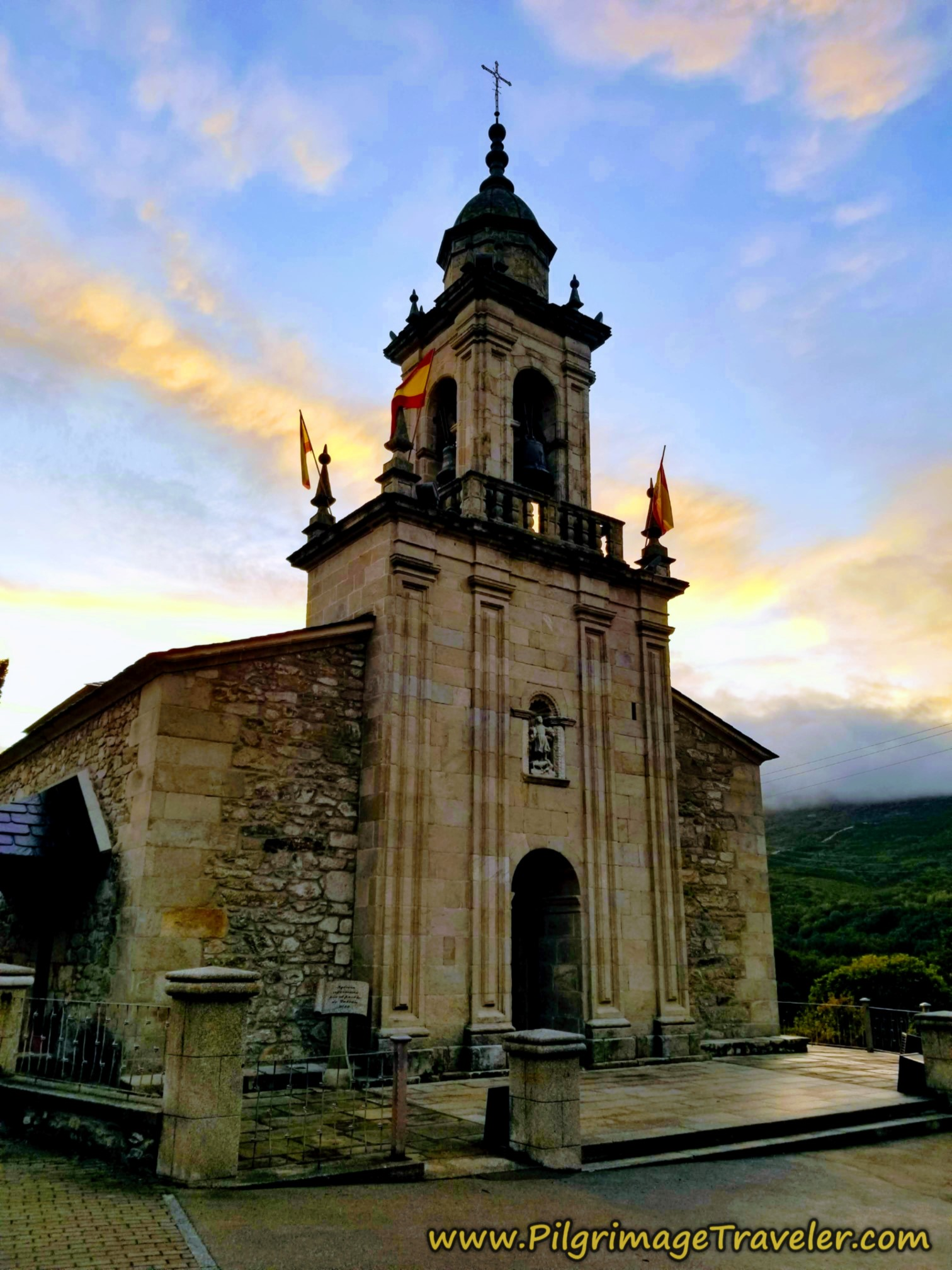 Iglesia de San Mamés at Dawn on the Camino Sanabrés from Lubián to A Gudiña