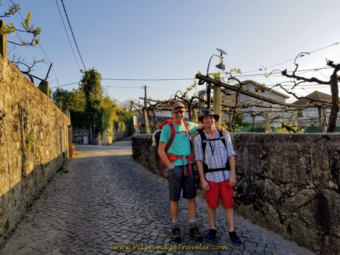 Rich and Matt Upon Entering Vilarinho, Portugal on the Central Route of the Camino Portugués