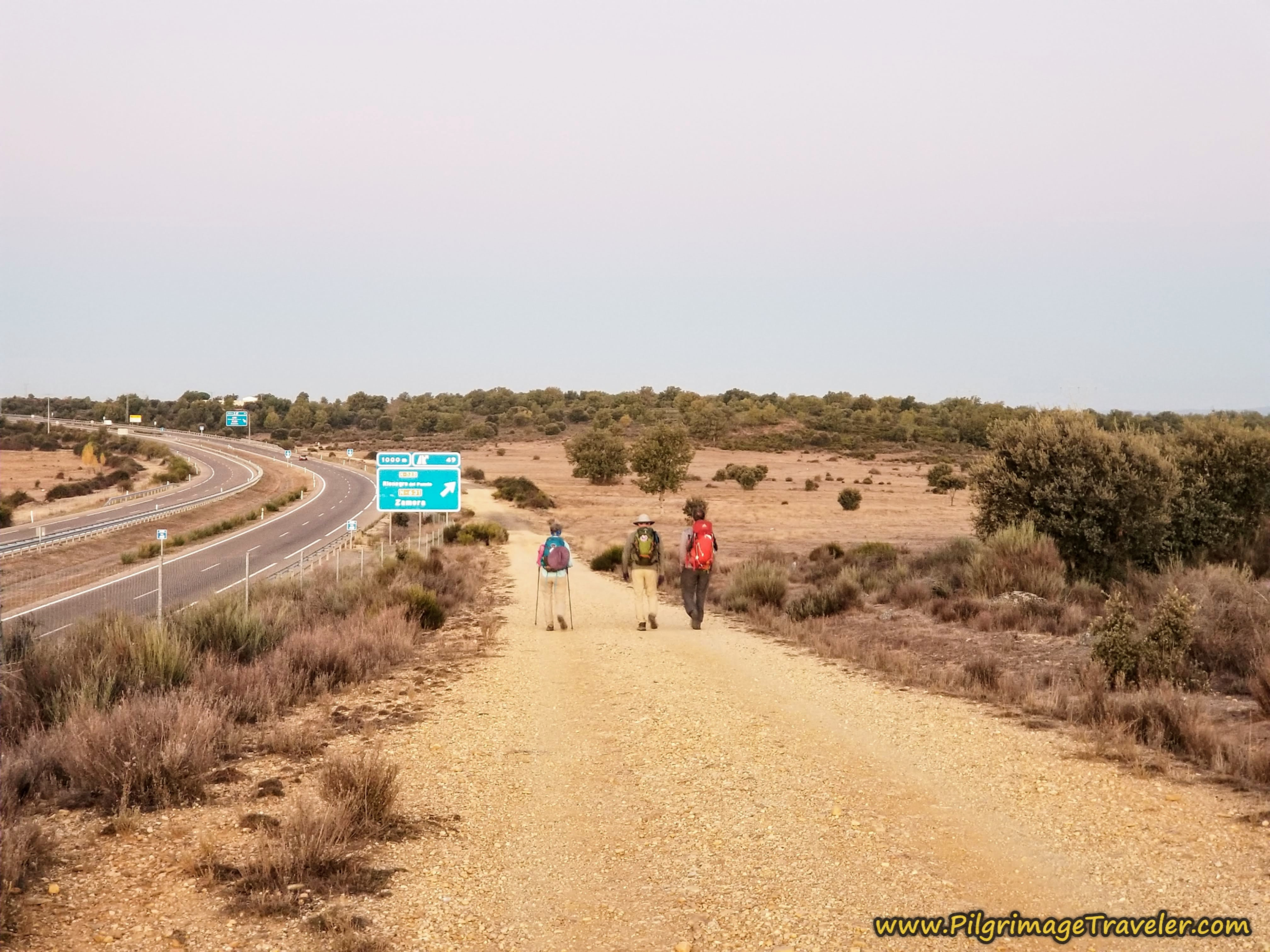 Walking Parallel to the A-52 on the Camino Sanabrés from Rionegro del Puente to Entrepeñas