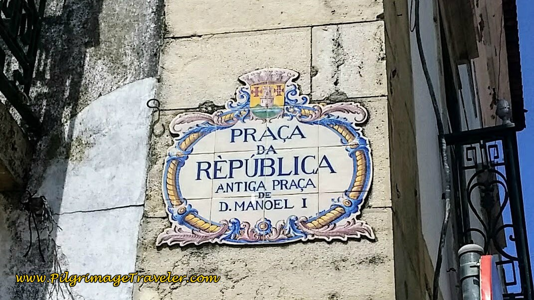 Welcome Azulejo Tile Sign to the Republic Plaza, Tomar