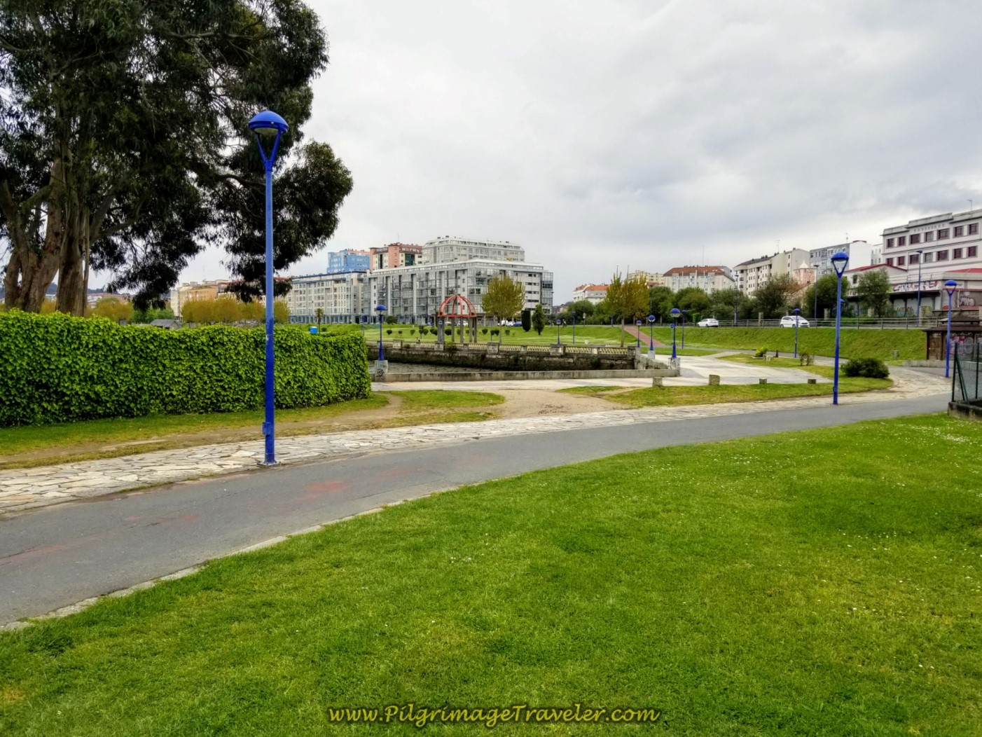The Lovely Walk Along the River on the Paseo da Ria do Burgo on day one of the La Coruña Arm of the Camino Inglés
