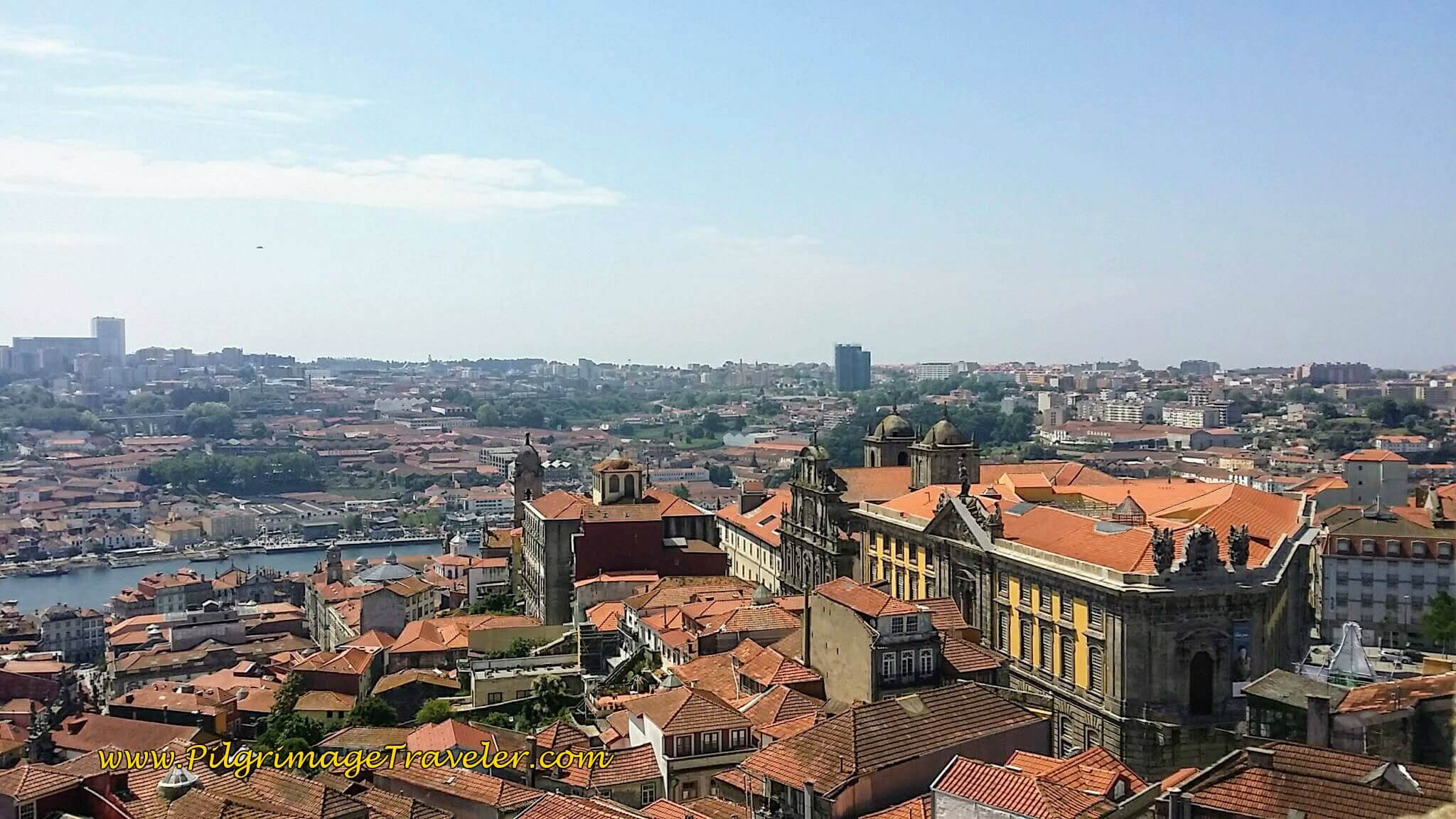View Southwest of Gaia and the Douro River from the Clérigos Tower in Porto, Portugal