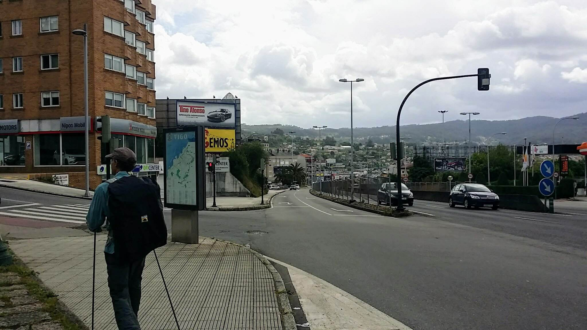 Carefully Cross the N-120 in Vigo, Spain on day twenty-one of Portuguese Way