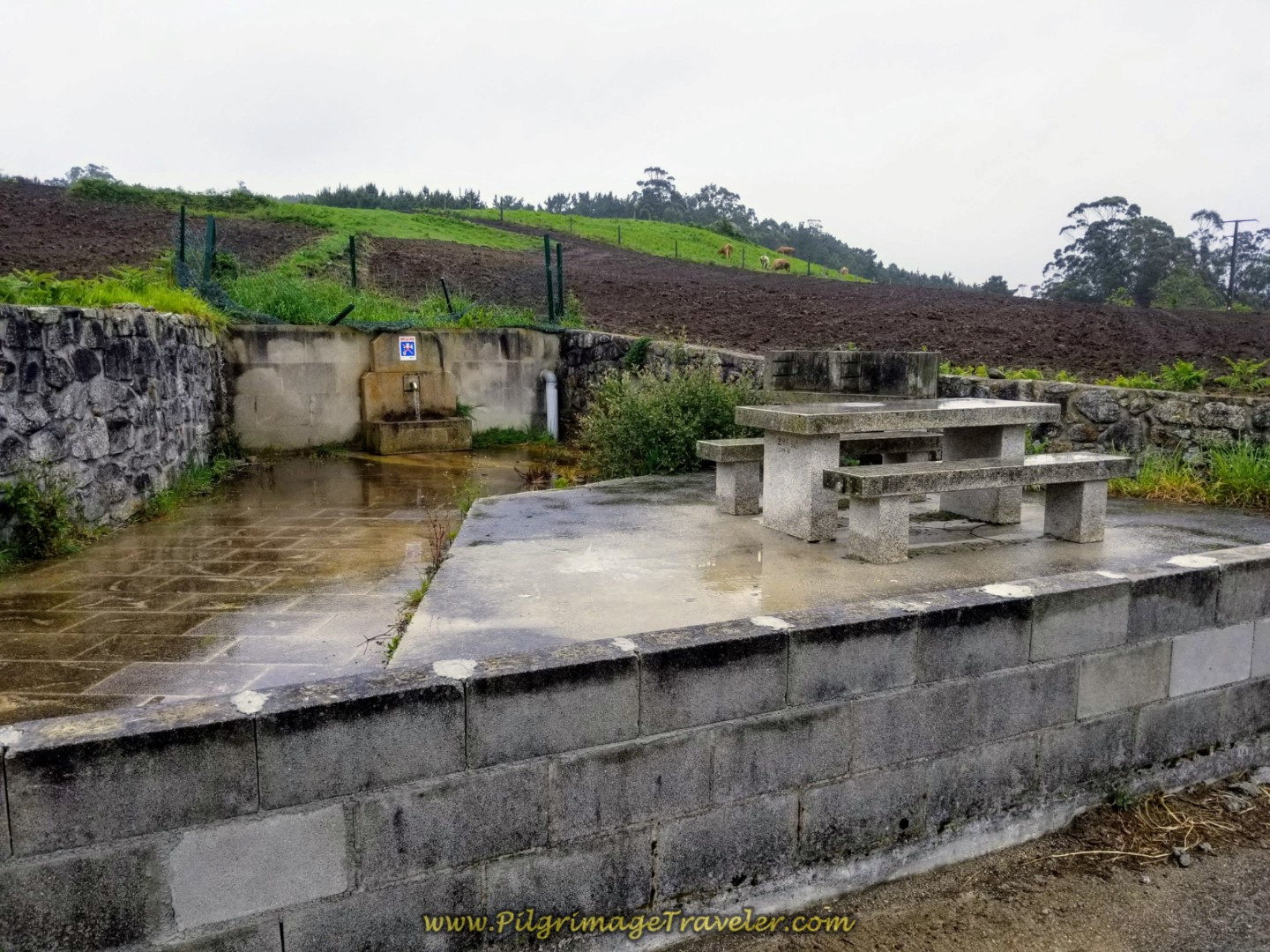 Nice Picnic Area and Fountain in Canosa on the Camino from Finisterre to Muxía