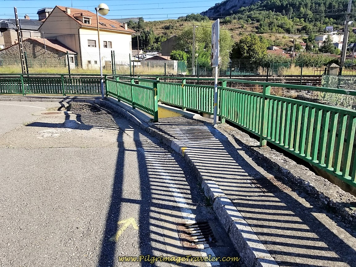 Stairs Leading Down to Cross the Railroad Tracks in La Pola de Gordón