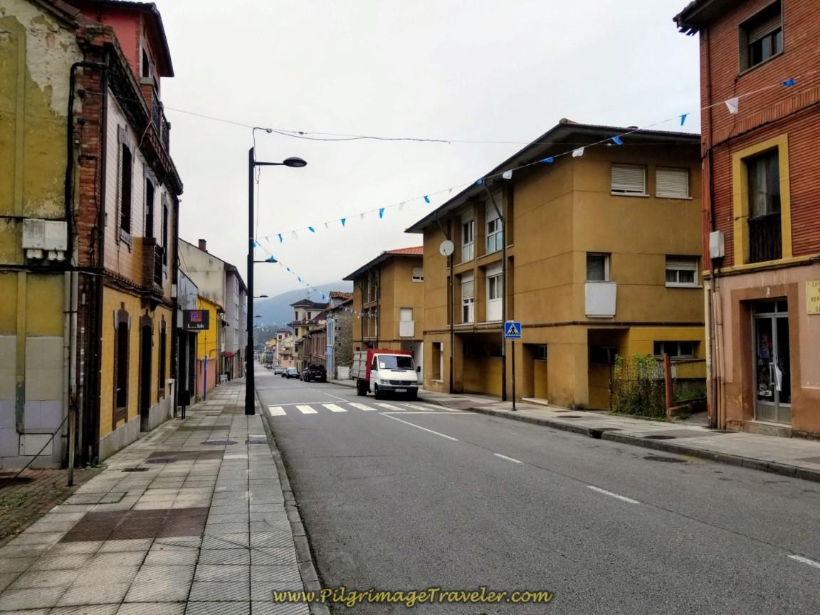 Walking Through Olloniego on day six of the Camino de San Salvador