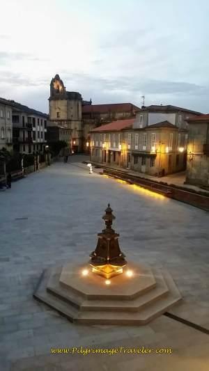 Fountain on Praza Alonso de Fonseca with Basilica de Santa Maria, Pontevedra, day twenty-two on the Camino Portugués