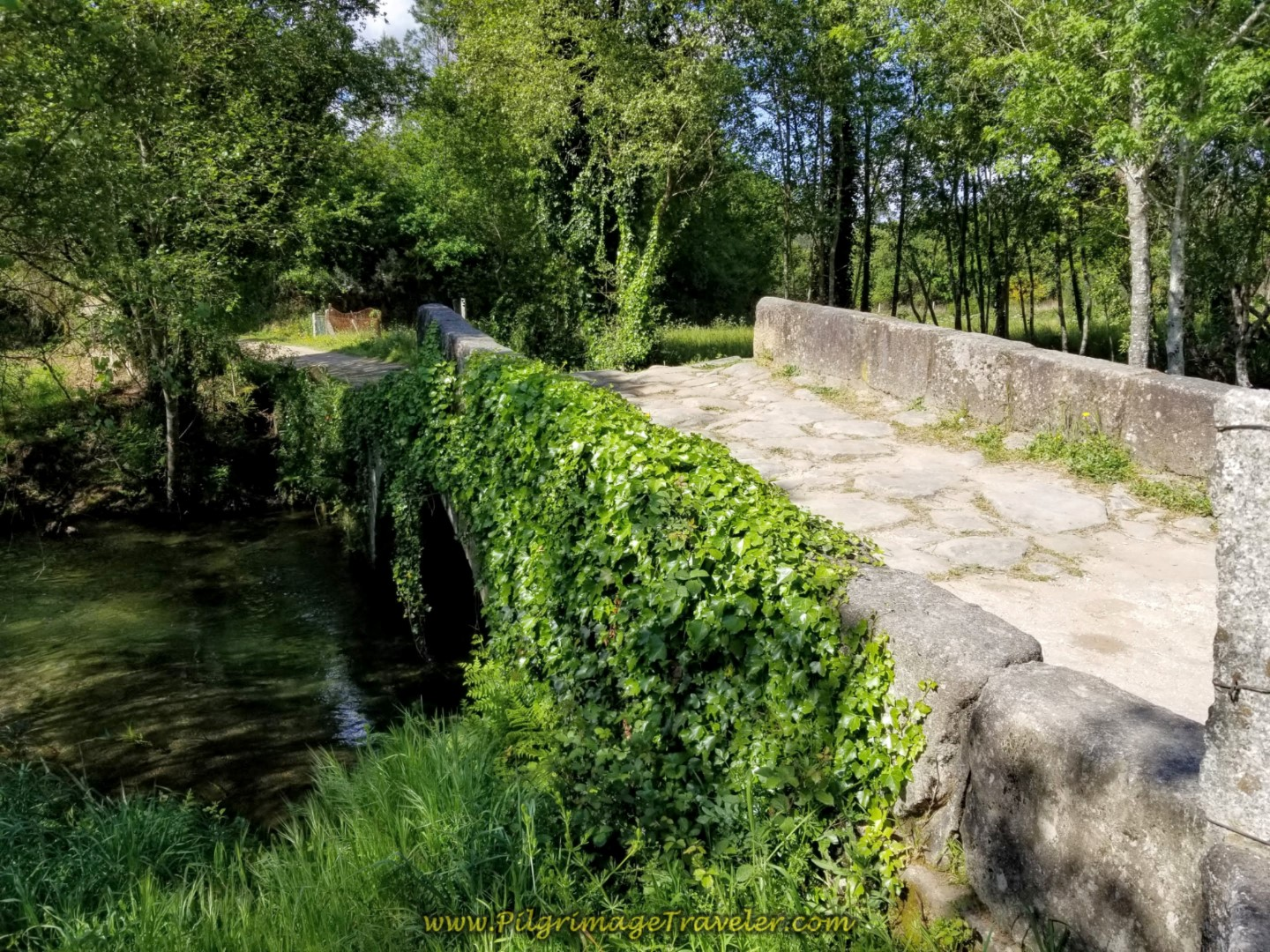 Looking Back at the Roman Bridge, the Ponte Romana da Pedreira on day nineteen on the Central Route of the Portuguese Camino