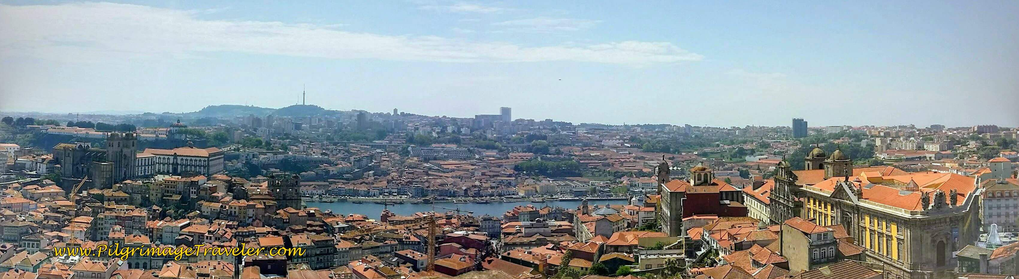 Panoramic View to the South from the Clérigos Tower in Porto, Portugal