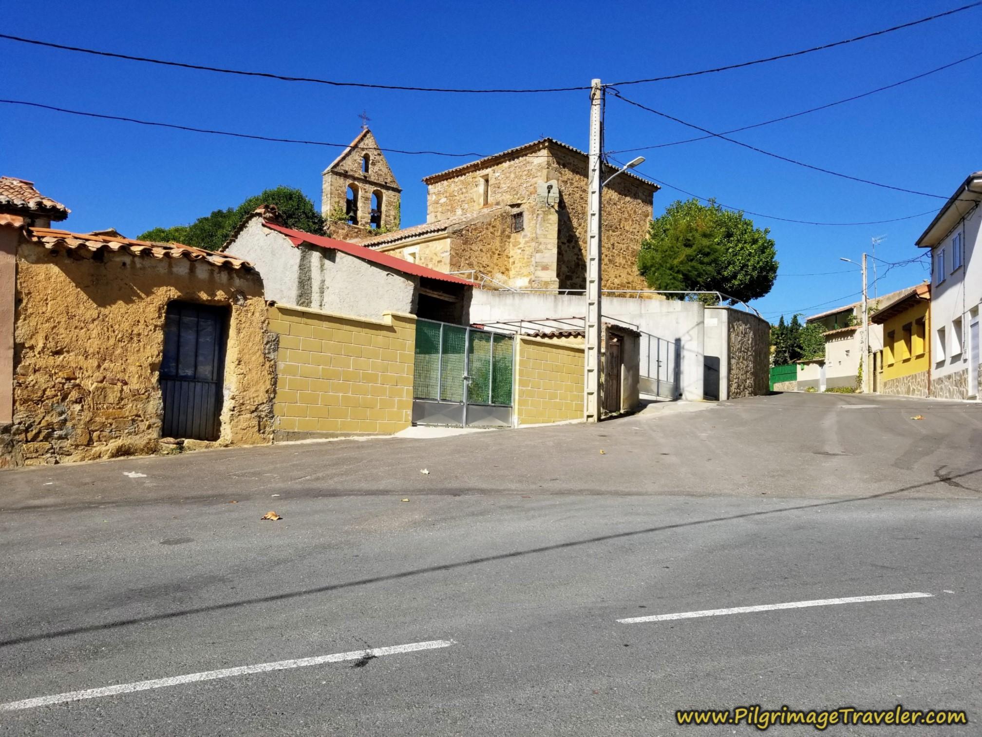 Uphill Toward Church on the Camino Sanabrés from Tábara to Santa Marta de Tera
