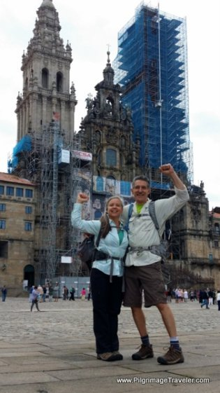 Victory Pose at the Cathedral of Sanitago de Compostela