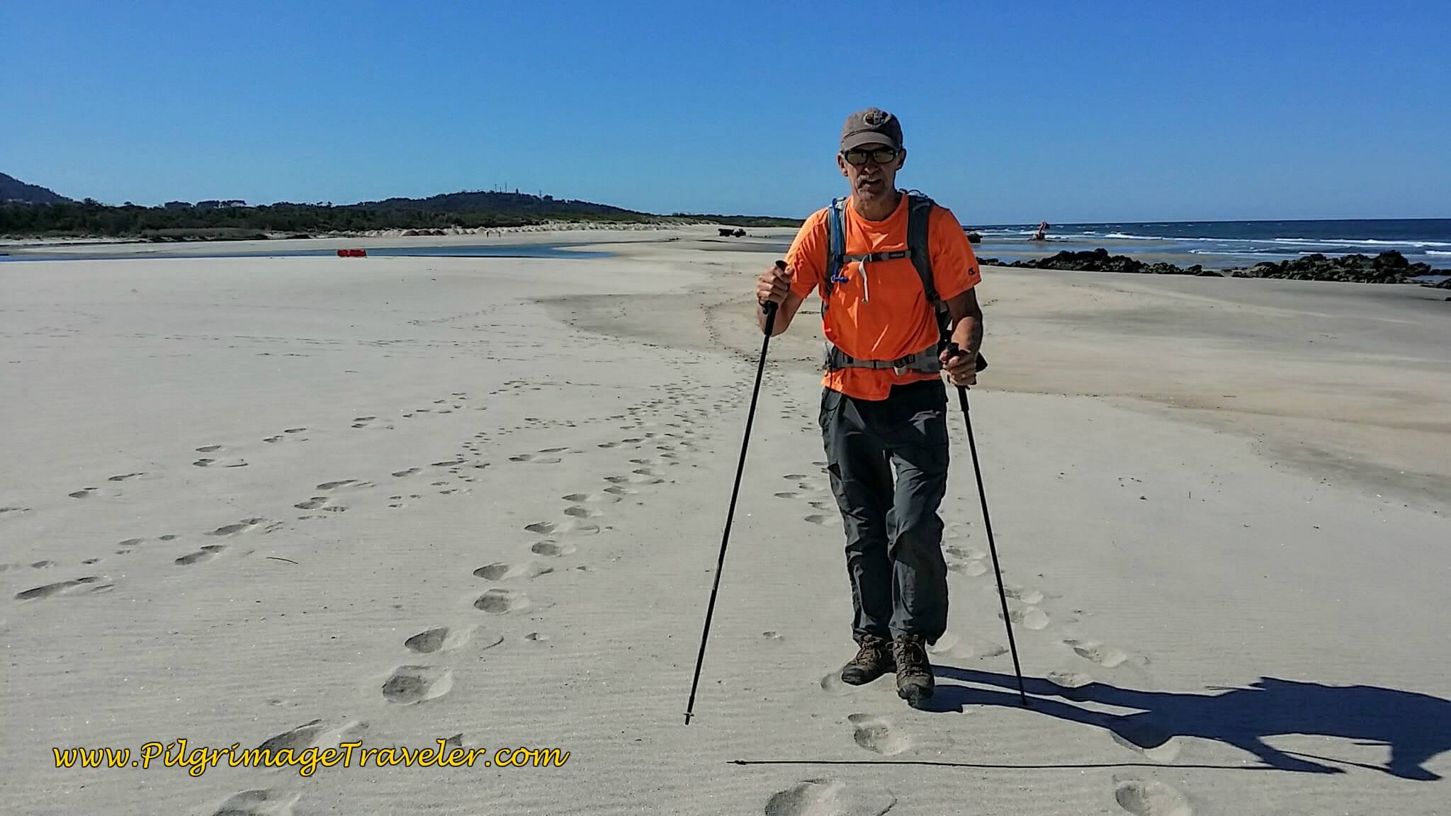 A Look Back at Rich on the Praia de Arda on day eighteen of the Portuguese Way on the Senda Litoral
