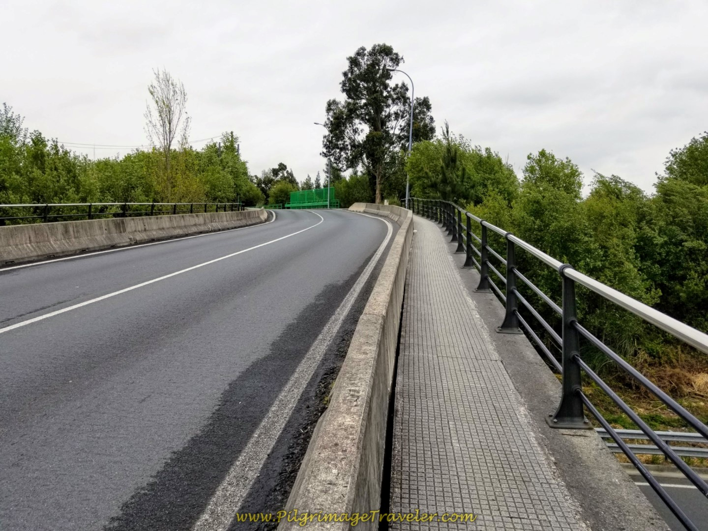 The Camino Joins the Pavement and Crosses the FE-11 on Bridge on day one of the Camino Inglés
