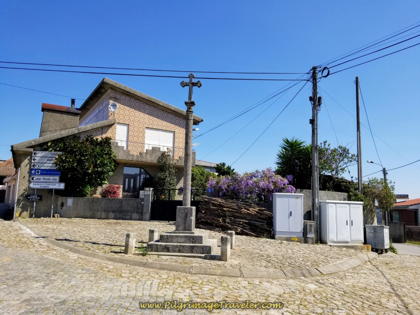 Right Turn at Cross in Rates, Portugal on day sixteen on the Central Route of the Camino Portugués
