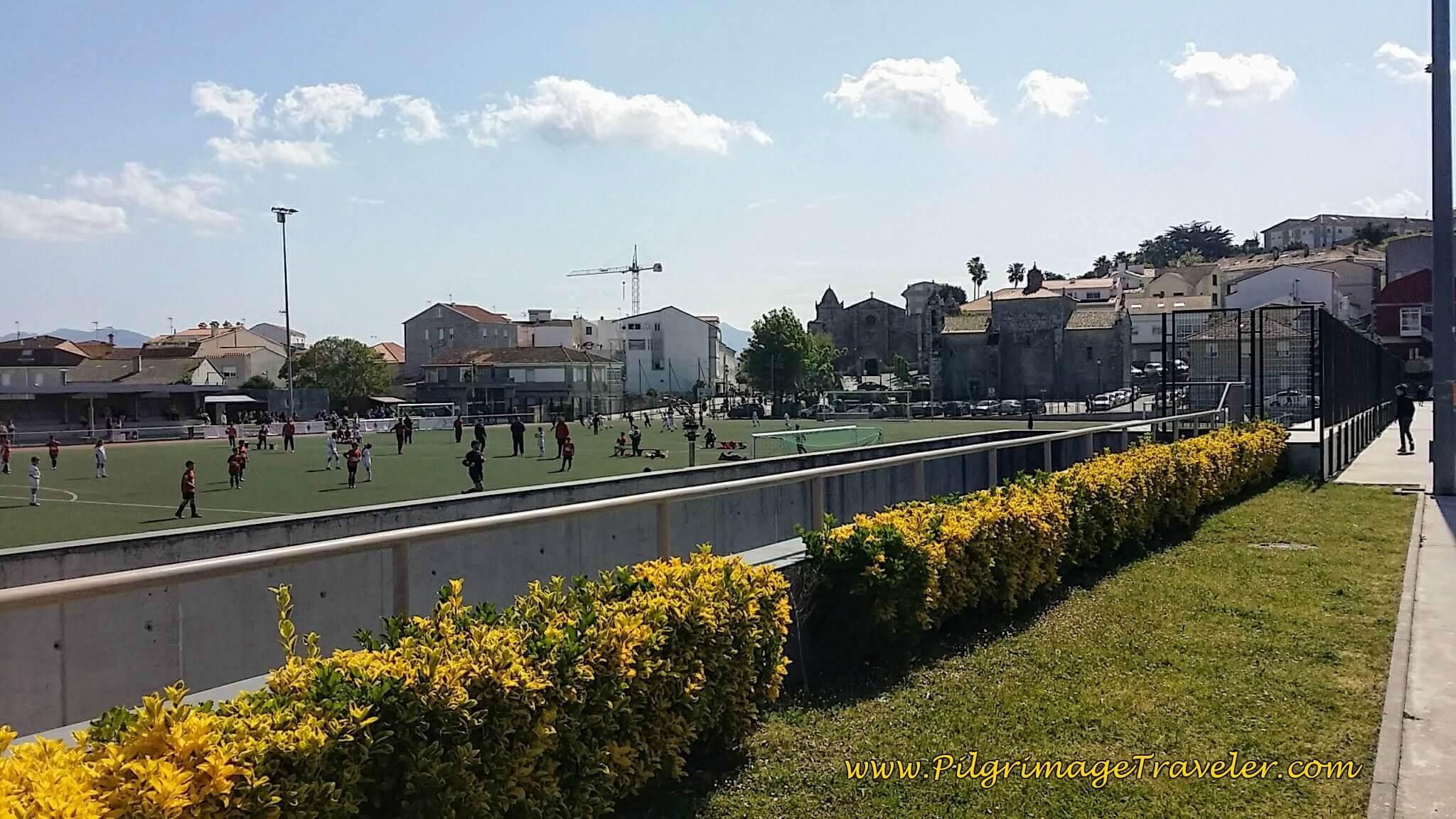 Landmark Soccer Field in Baiona on day twenty, Camino Portugués da Costa