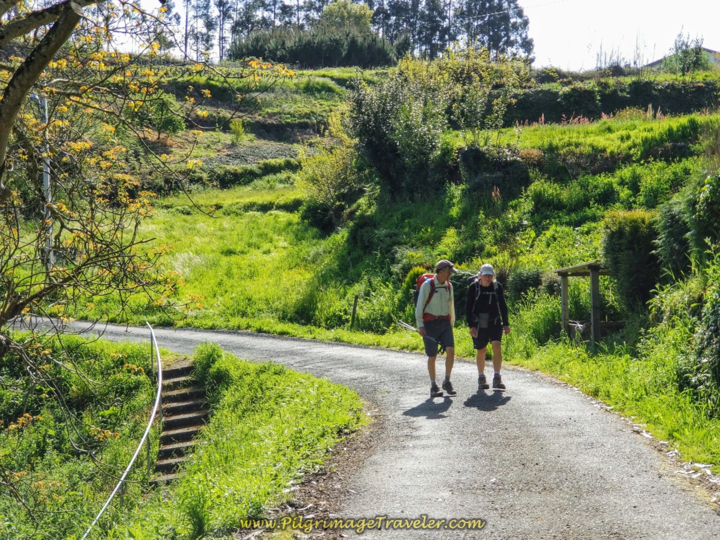 Rich and Rob on the Country Road by Spring in San Paio, Galicia, on day four of the English Way