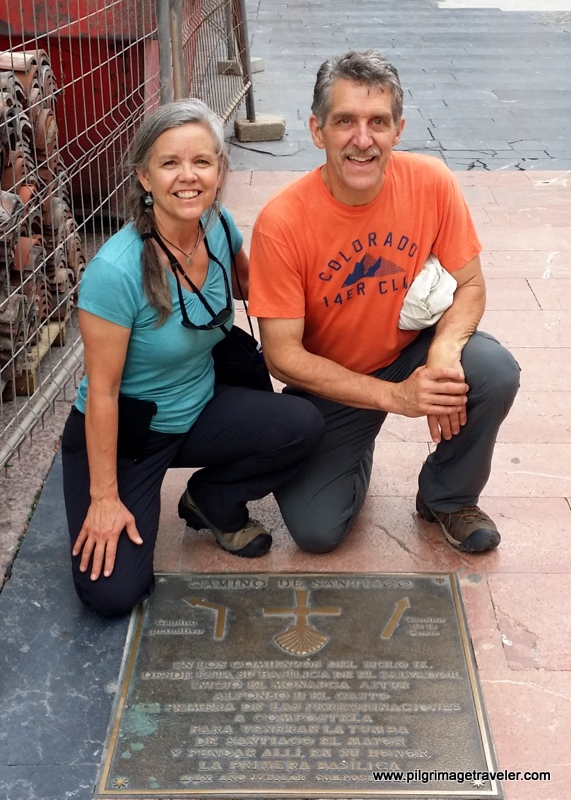 Elle and Rich at the Plaque at the Start of the Camino Primitivo, Oviedo, Spain