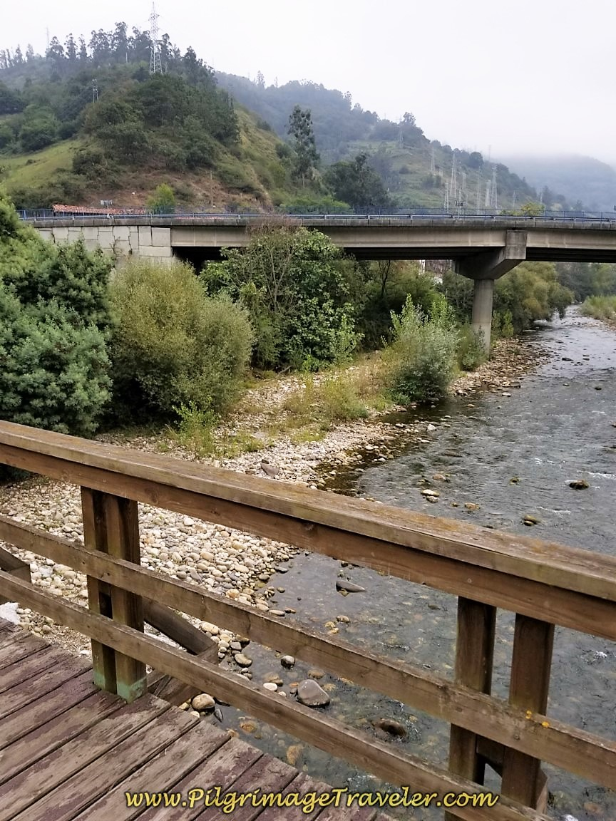 Cross the Río Aller on day five of the Camino de San Salvador