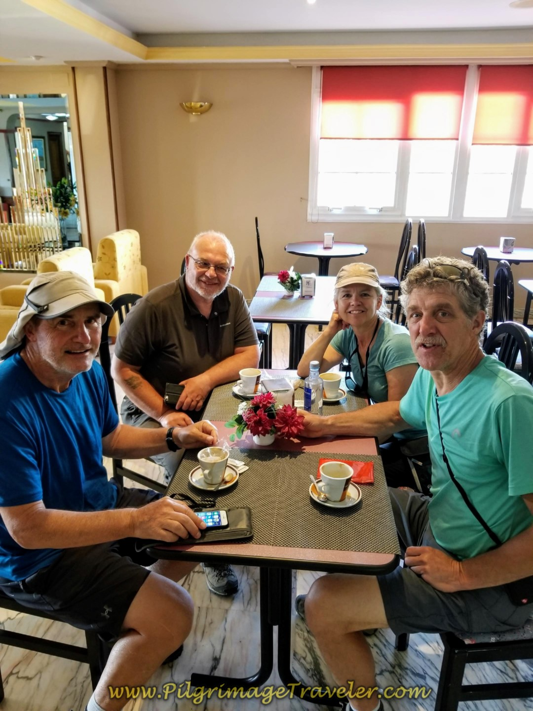 Friends at the Café Bar Hotel Castro on day eight of the Camino Inglés