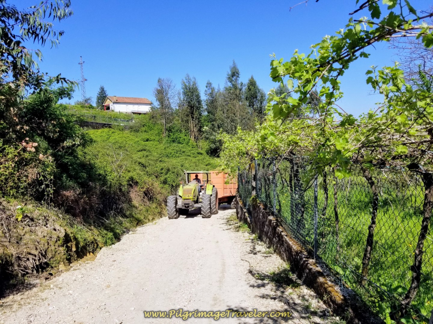 Tractor Greets Us on the Rua de São Tiago on day seventeen on the Central Route of the Camino Portugués