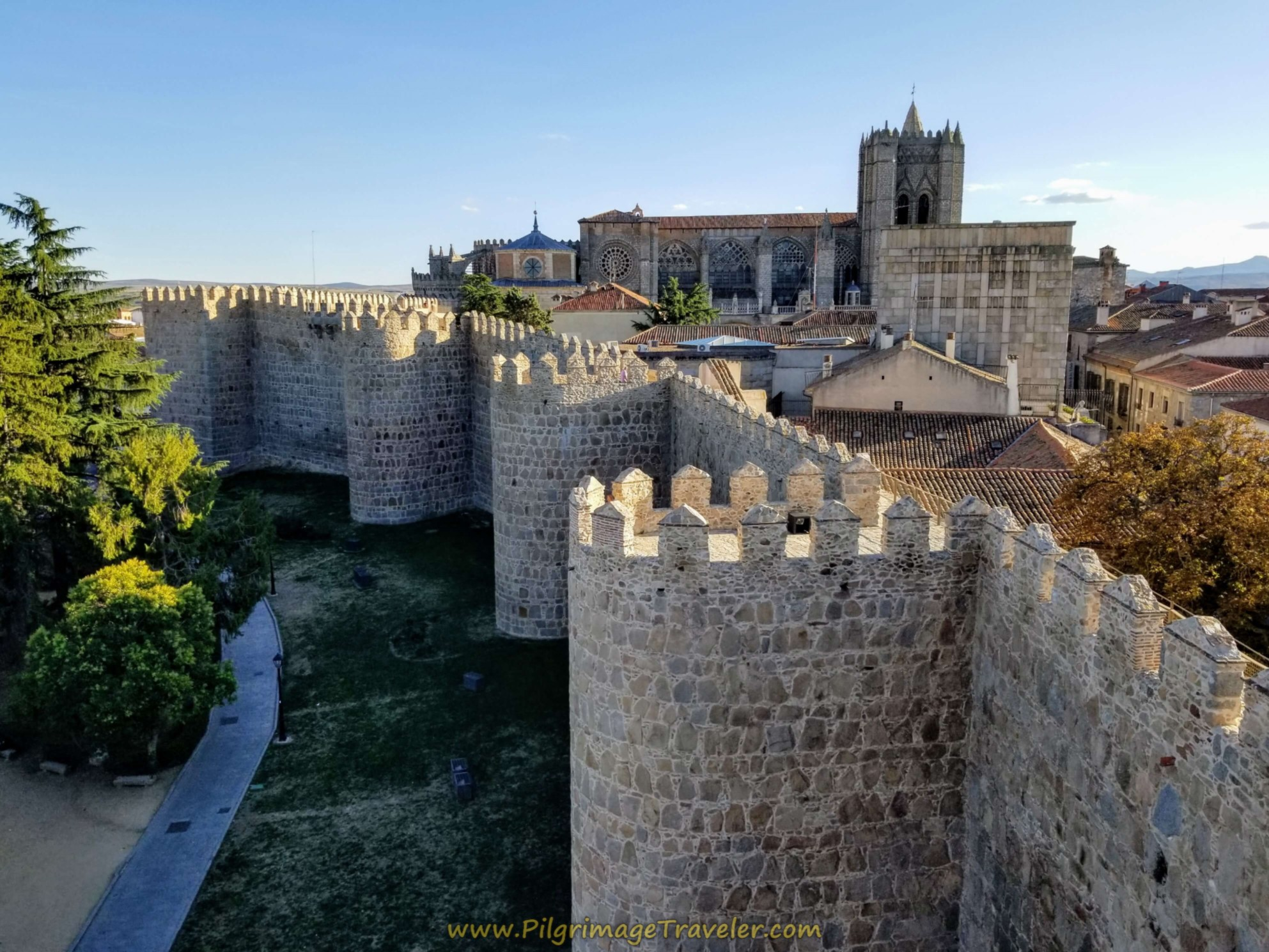 A view of the Ávila Cathedral from a wall tower.