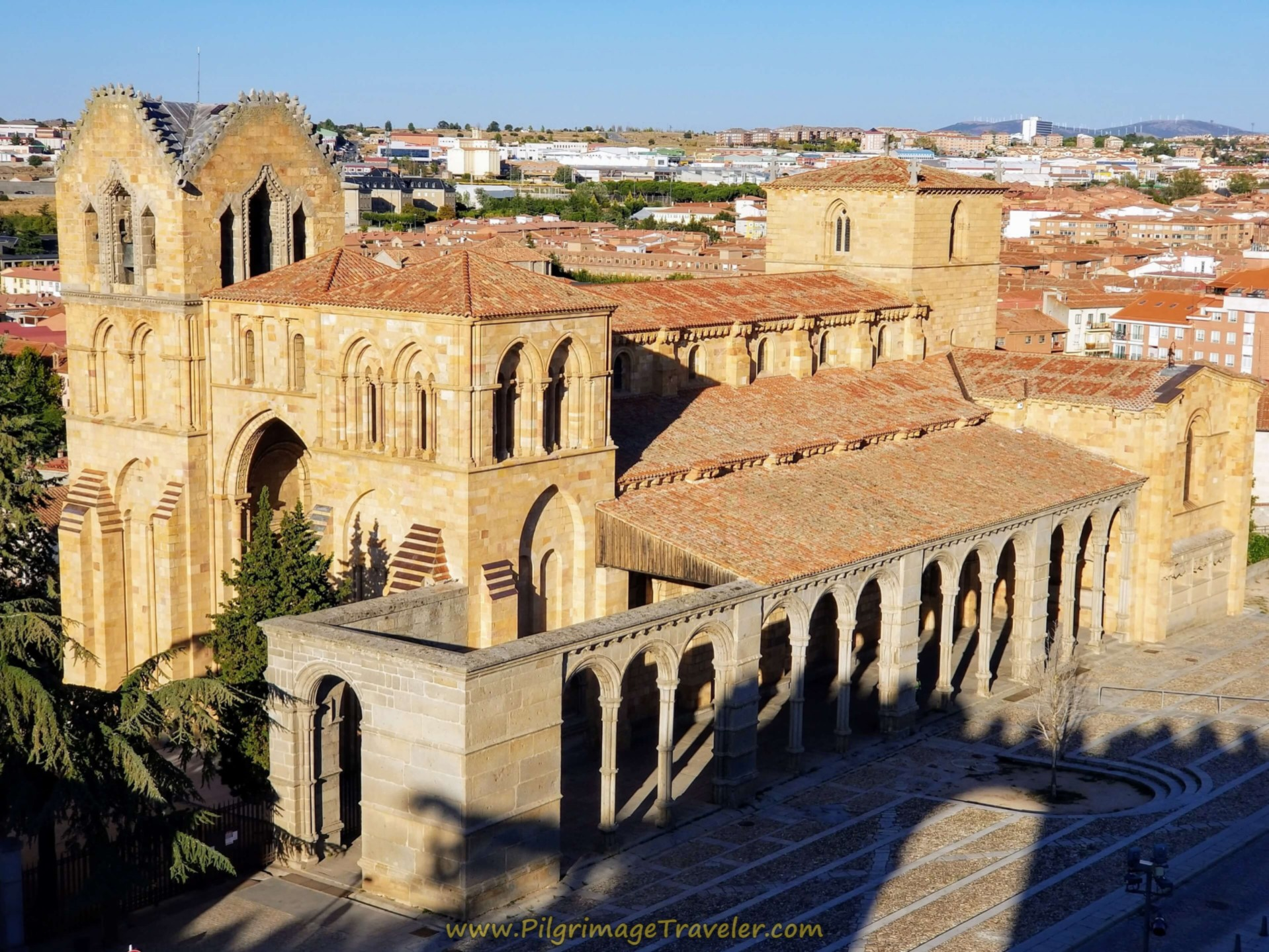 View of the Basilica de San Vicente, in Ávila, Spain, from the fortress walls.