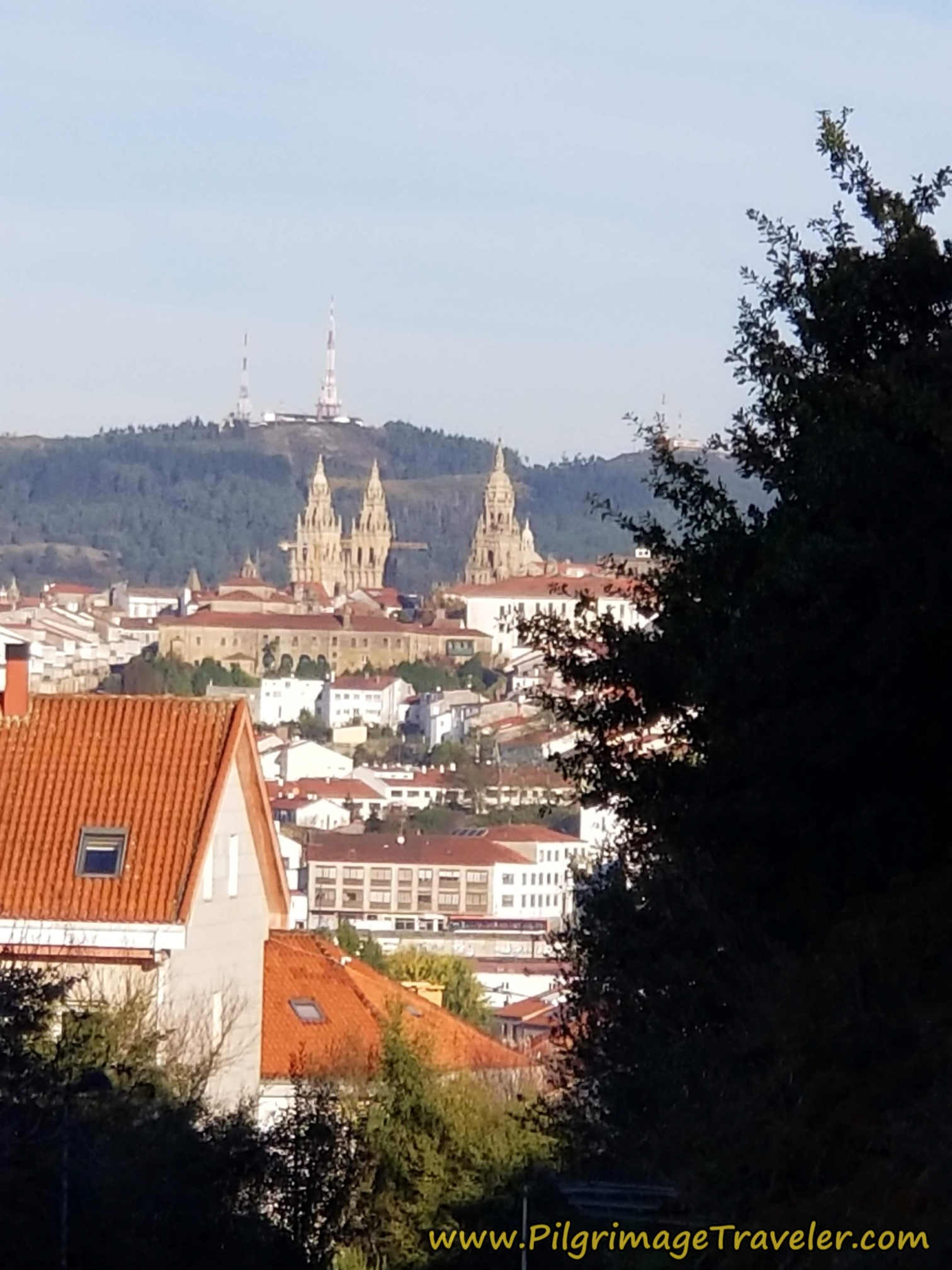 Closer View of the Santiago Cathedral Spires on the Camino Sanabrés from A Susana to Santiago de Compostela