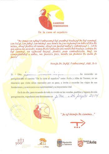 Camino Teresiano Certificate of Completion ~ La Andariega