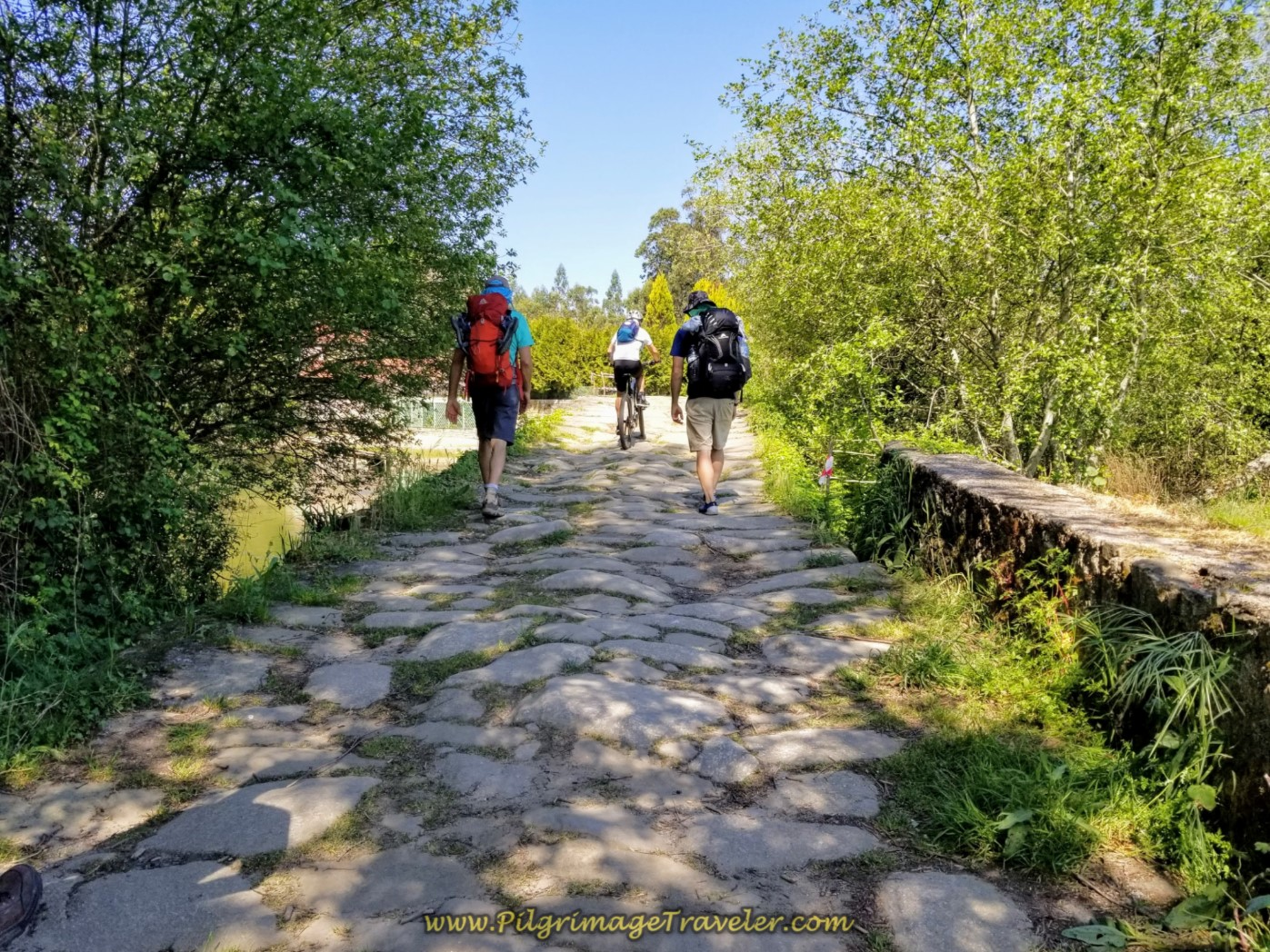 Crossing the Ponte Das Tábuas ~ Roman Bridge near Balugães on day seventeen on the Central Route of the Portuguese Camino