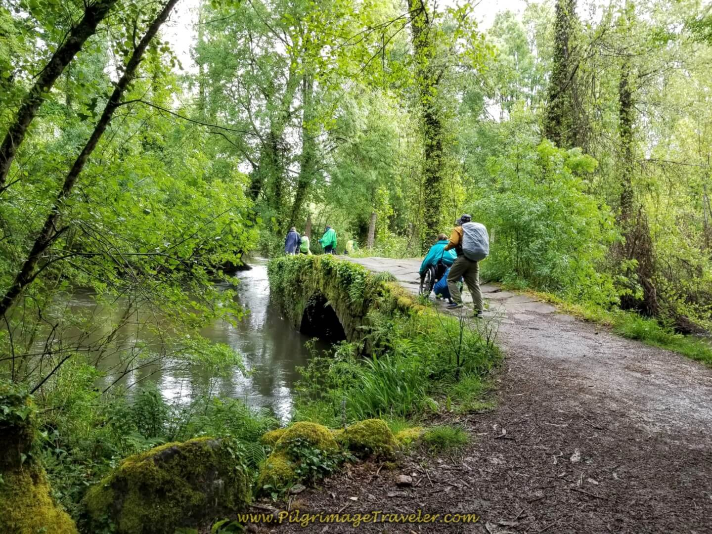 Matt Assists Magdalena Across the Puente de Orbenlle on day twenty on the central route of the Portuguese Camino