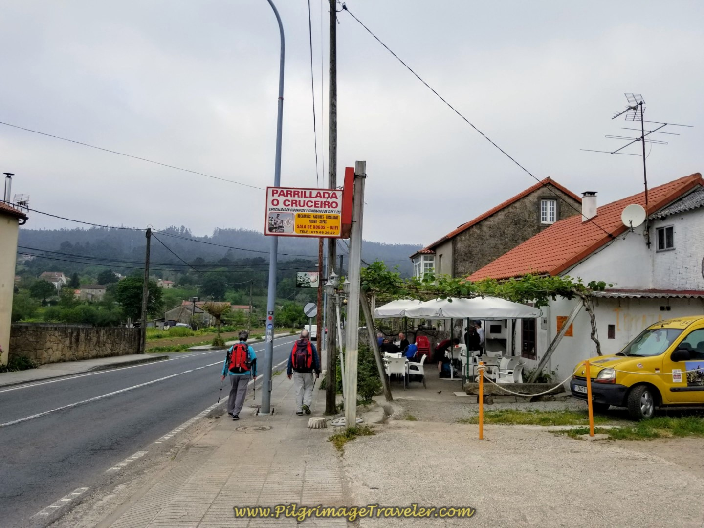 Café Parrillada O Cruceiro at the Halfway Point on day one of the Camino Fisterra