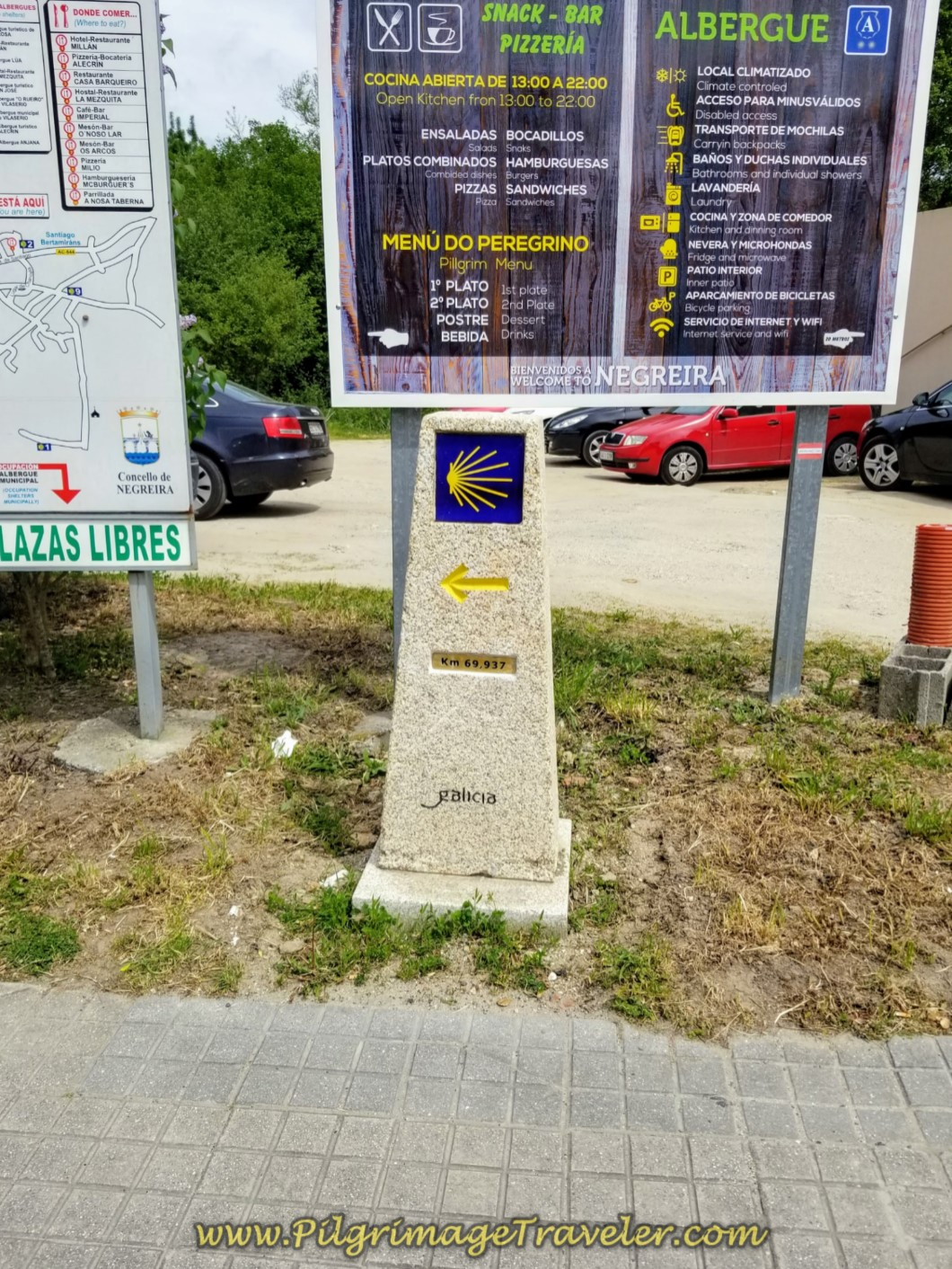 69.93 Kilometer Marker in Negreira on day one, Finisterre Way