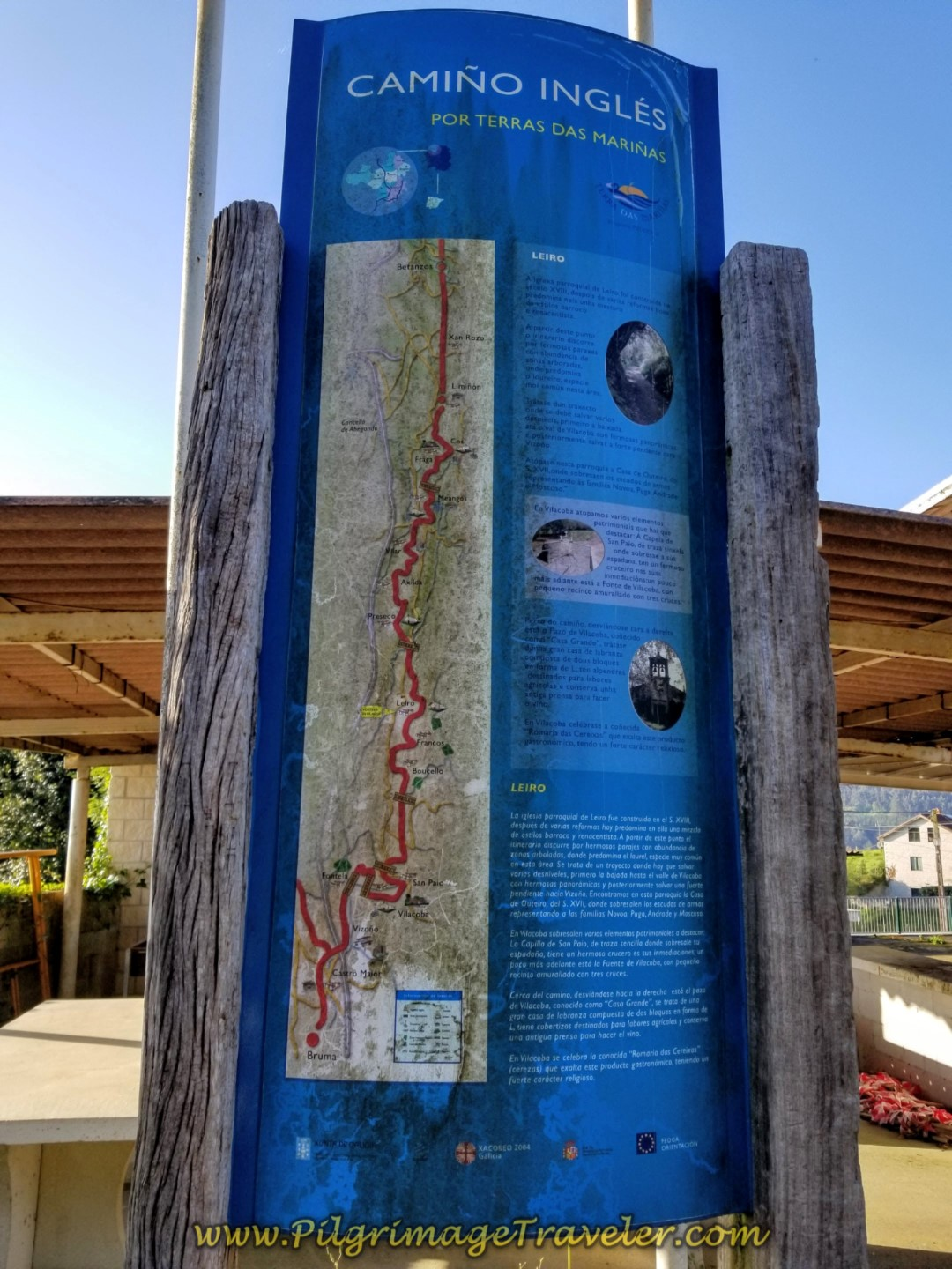 The Old English Way Information Board in Leiro ~ Maps No Longer Current! on day six of the Camino Inglés