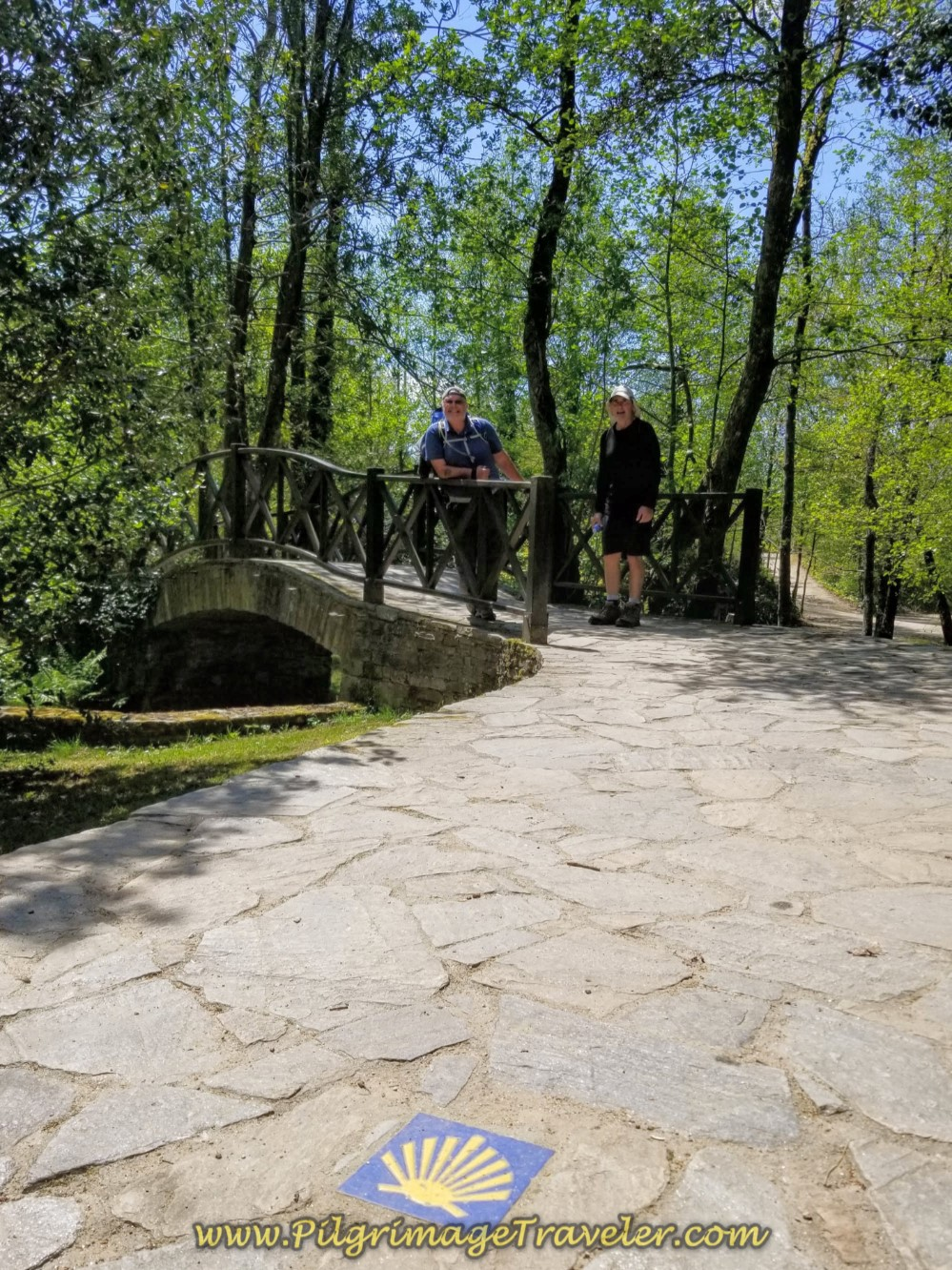 Cross River on Footbridge in Sigüeiro on day seven of the English Way