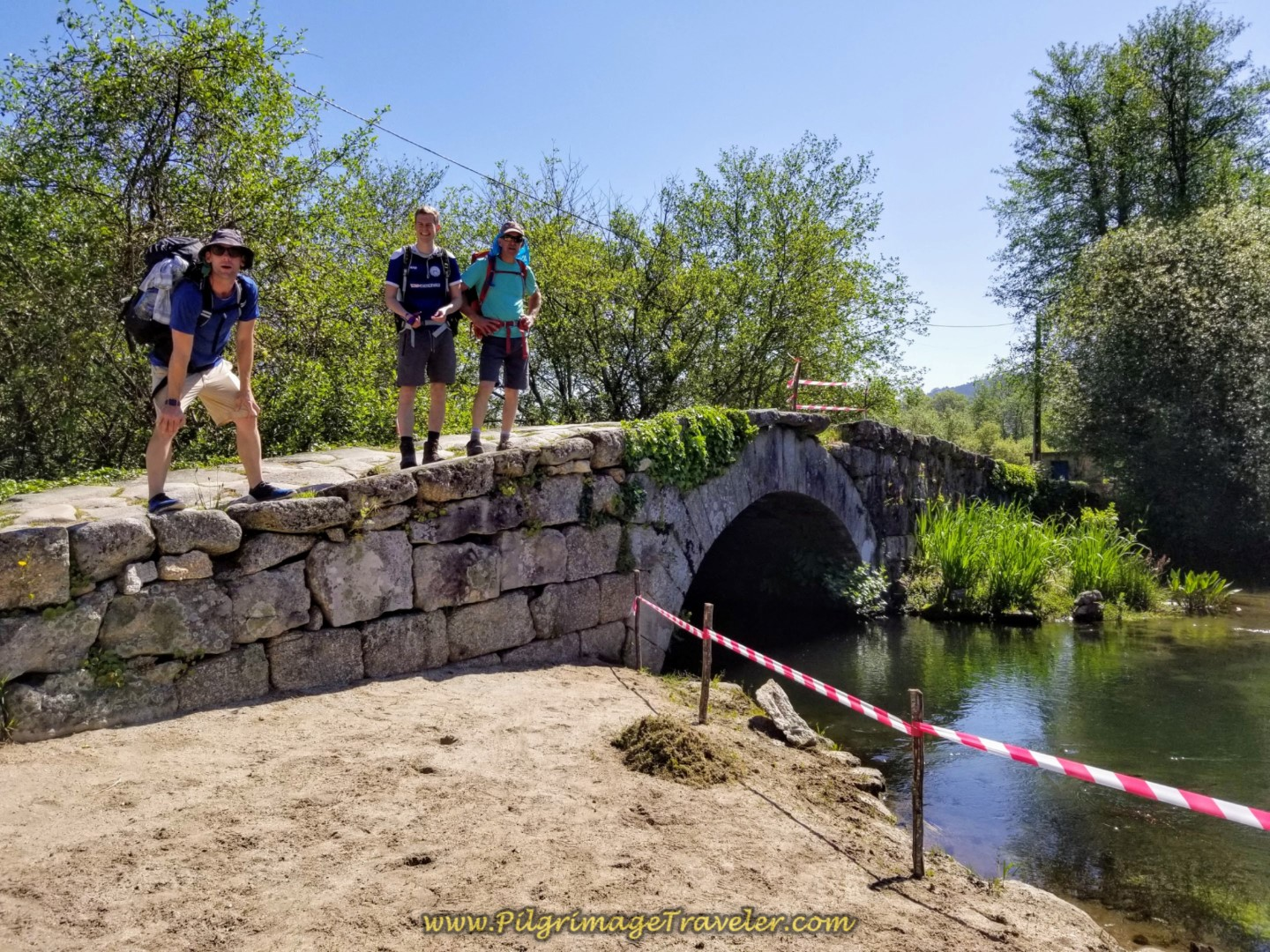 Posing on the Ponte Das Tábuas on day seventeen on the Central Route of the Portuguese Camino