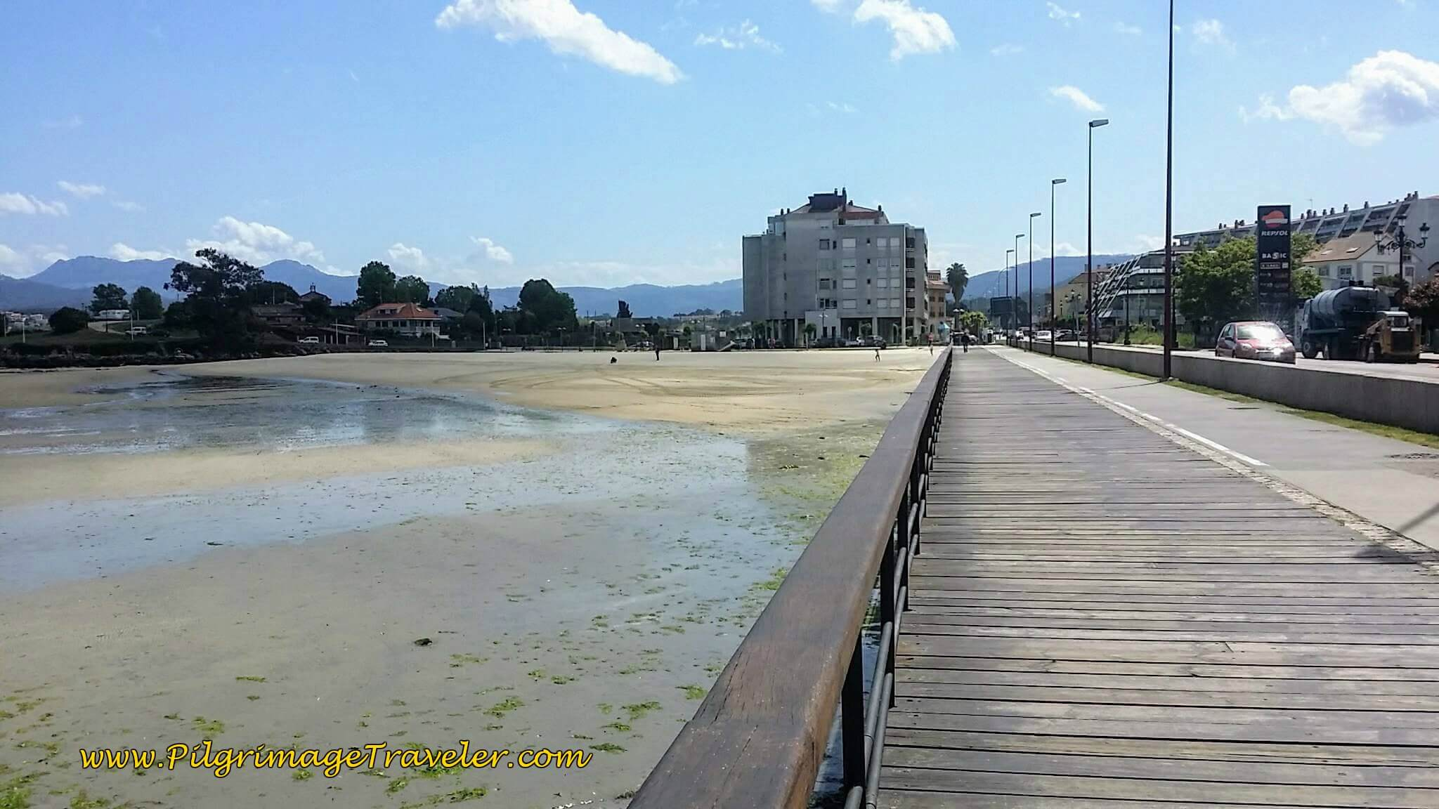 Boardwalk to the Praia de Santa Marta along the waterfront of Baiona on day twenty, Camino Portugués da Costa.