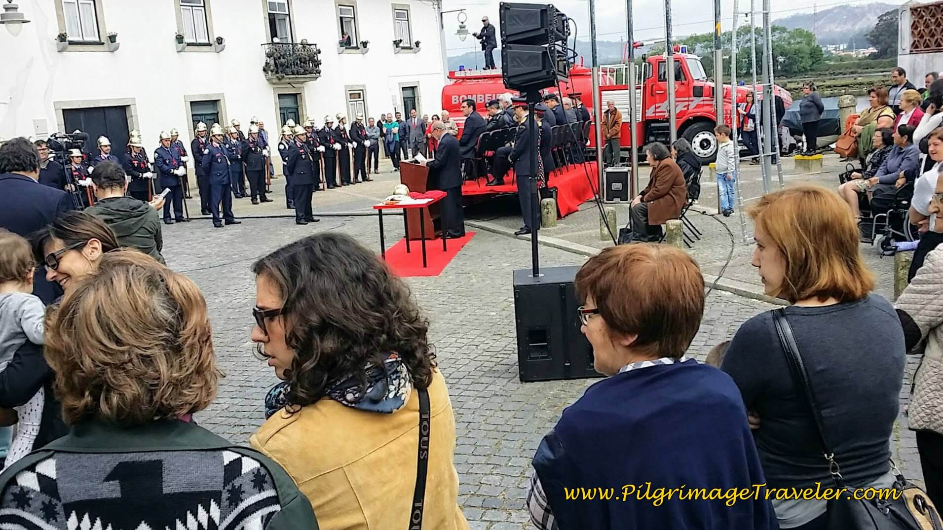 Honor Ceremony at the Fão Volunteer Fire Department on day sixteen of the Portuguese Way on the Coastal Route