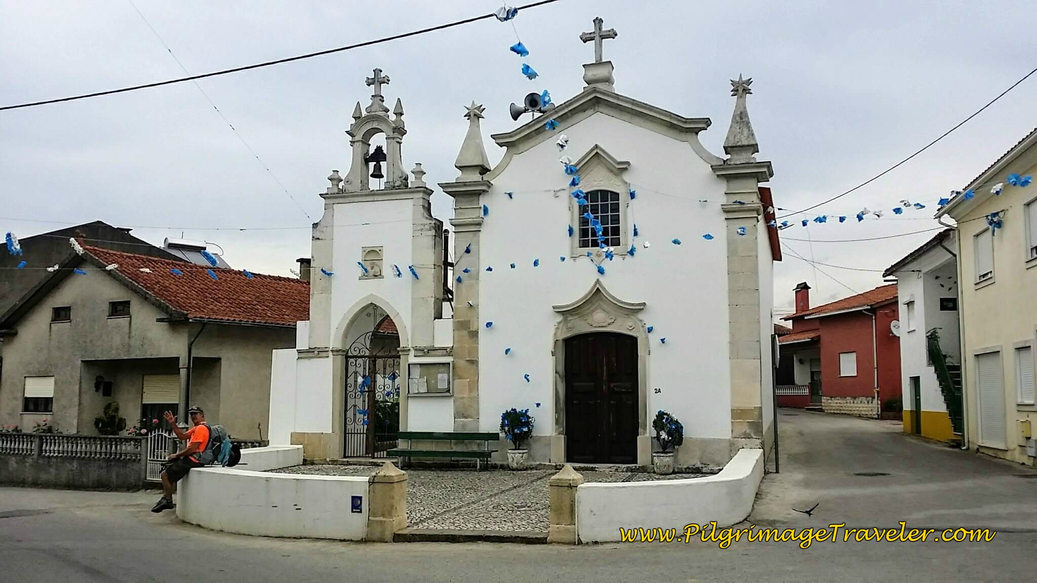 Rich Rests in the Chapel Square in Mala, Portugal on the Camino de Santiago
