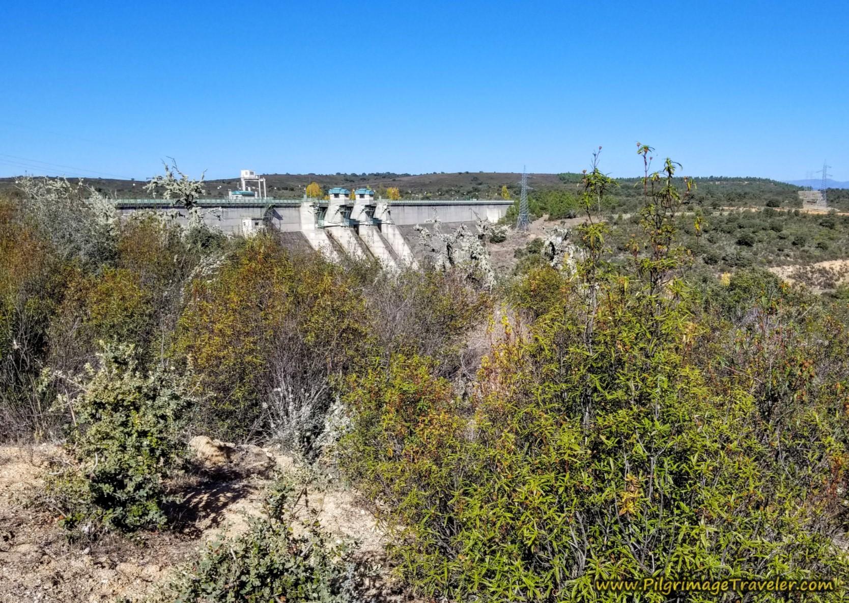 Reservoir Dam Ahead on the Camino Sanabrés from Santa Marta de Tera to Rionegro del Puente