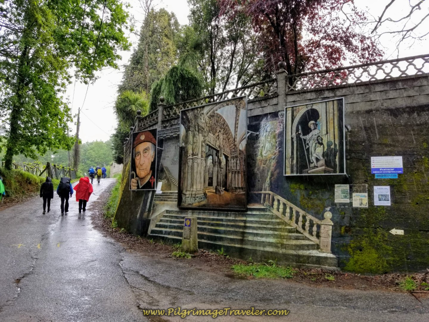 The Portico da Gloria Mural in Orbenlle on day twenty on the central route of the Portuguese Camino