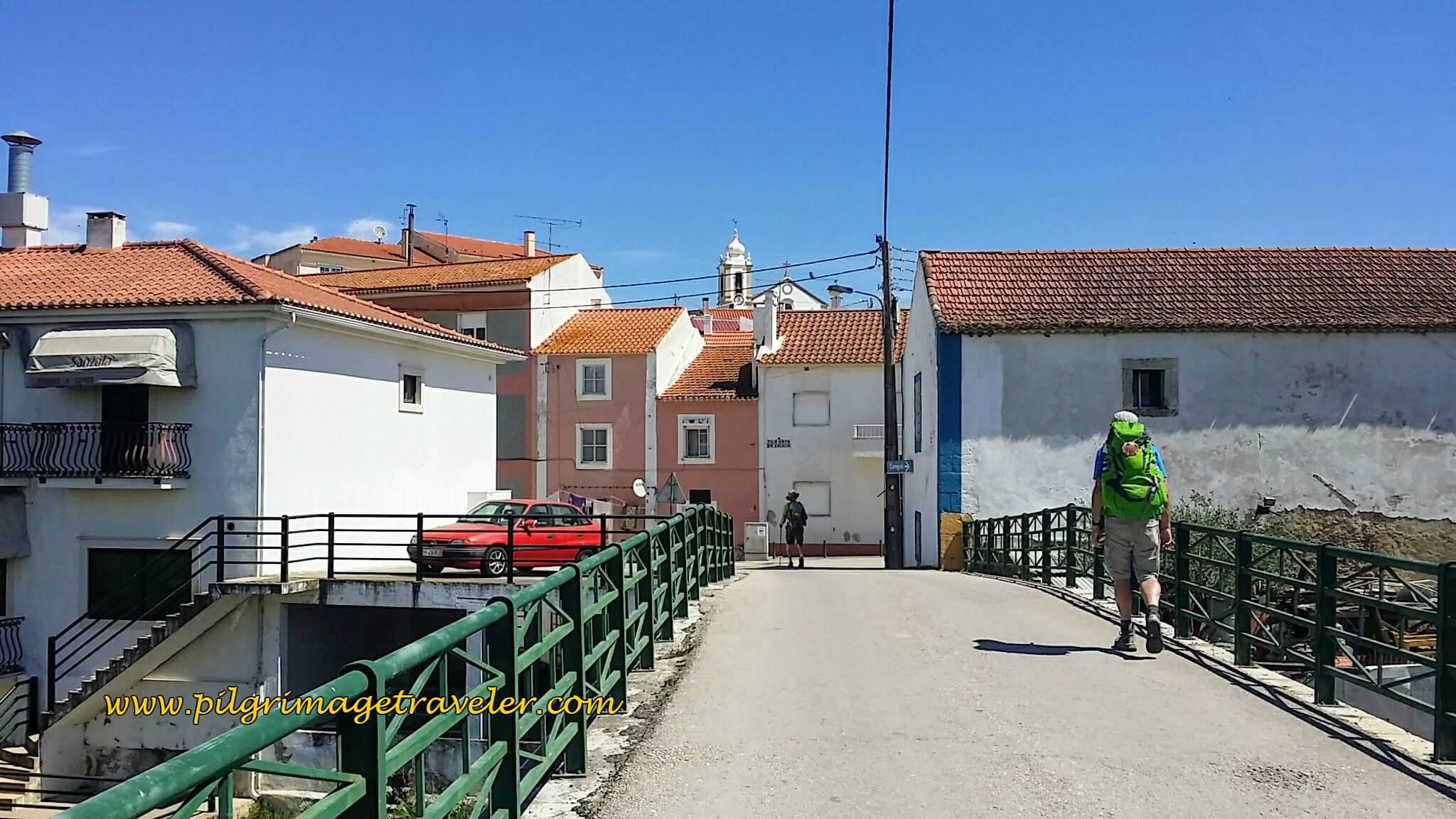 Straggling Over the Bridge Into Town, Vila Nova da Rainha, on the Portuguese Way