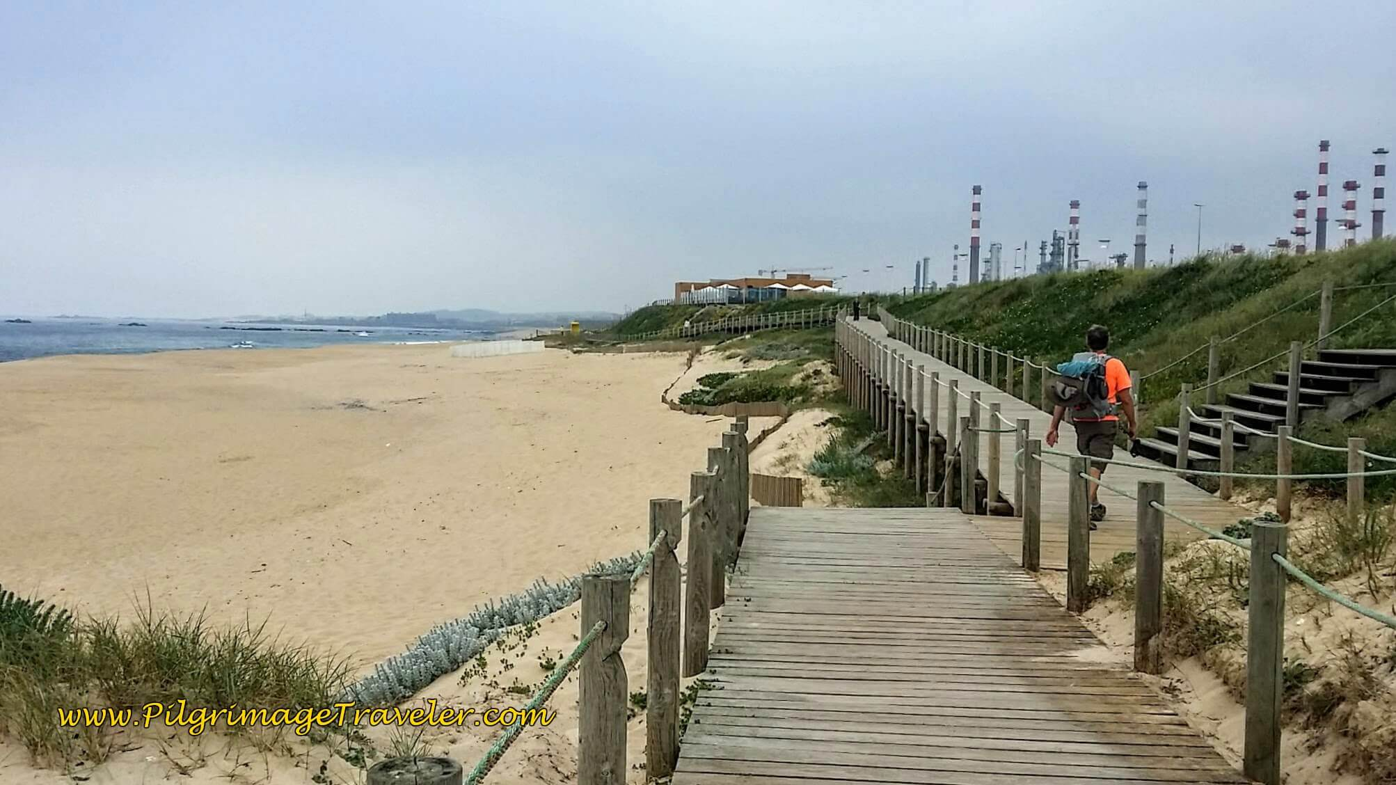 Praia Azul, Next to Oil Refinery on day fifteen of the Portuguese Way on the Senda Litoral