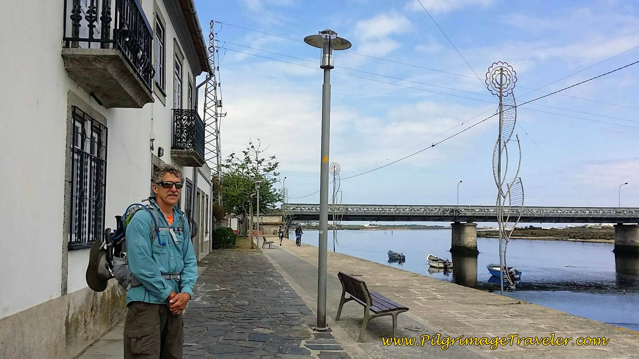 Rich on the Rua do Cais Along the Rio Cávado in Fão on day sixteen of the Portuguese Way on the Coastal Route