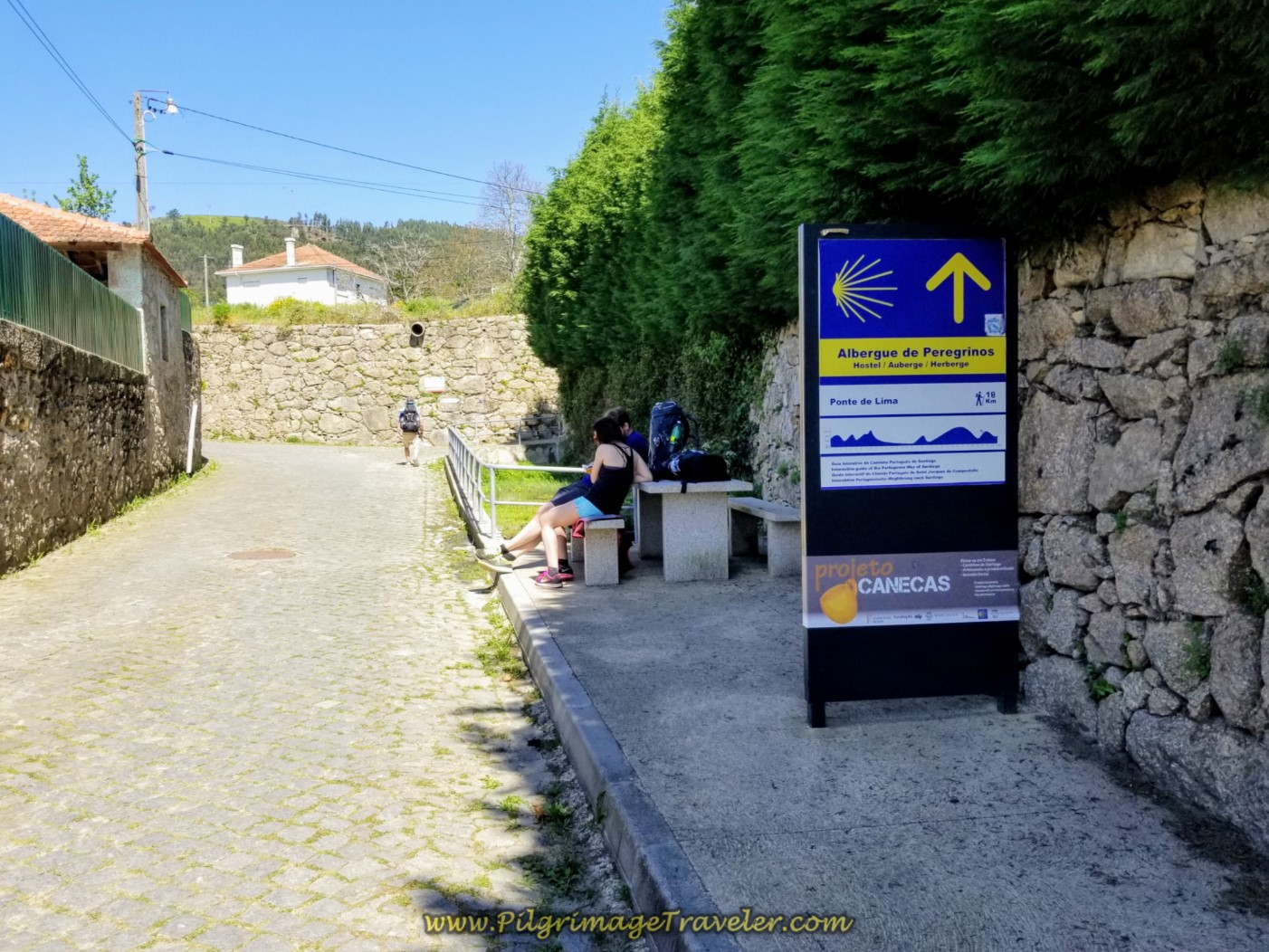 Sign for Next Albergue in Balugães on day seventeen on the Central Route of the Portuguese Camino