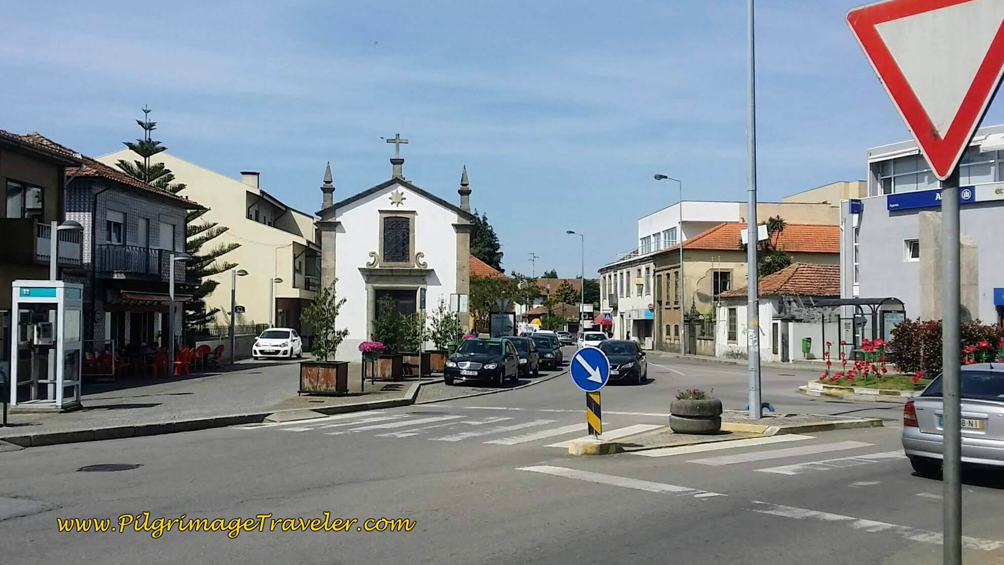 In the Center of Grijó Turn Right at Capela on the Rua da Guarda on day fourteen of the Portuguese Way