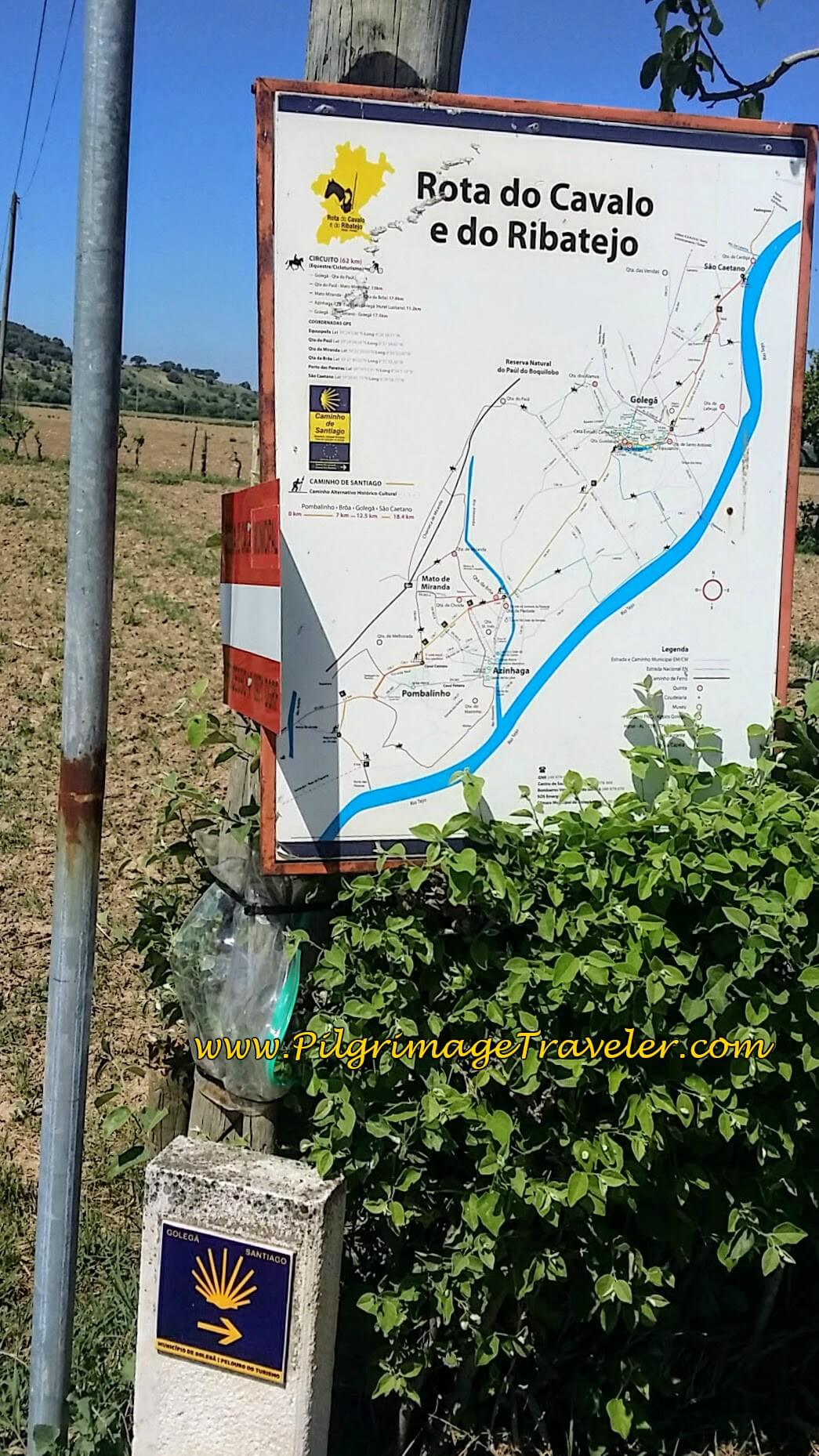 First Posted Camino Route Map near Pombalinho, Portugal
