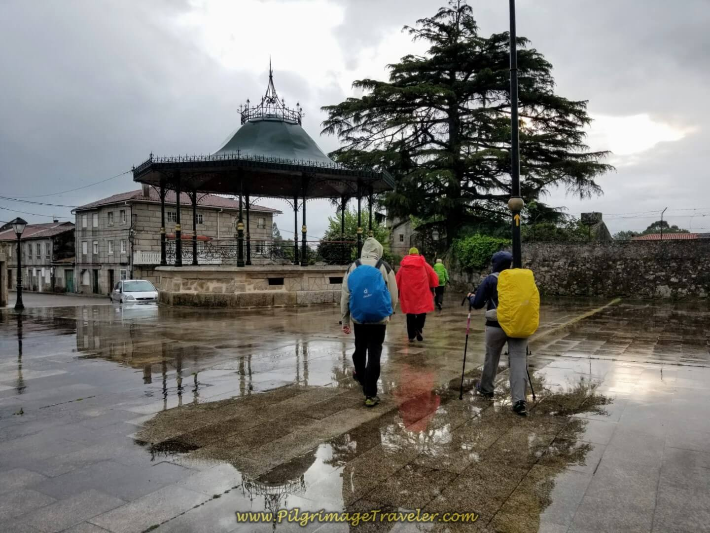 Cross the Plaza at Gazebo on day twenty on the central route of the Portuguese Camino