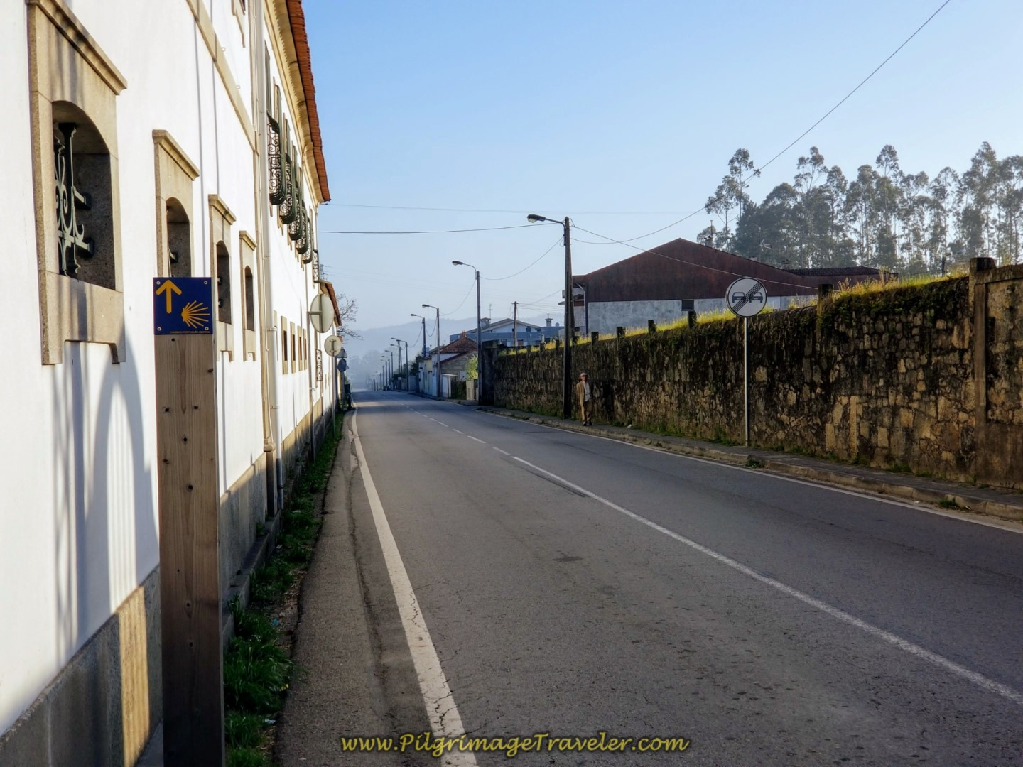 Leaving Vilarinho ~ Northward on the Busy N306, on the Central Route of the Camino Portugués