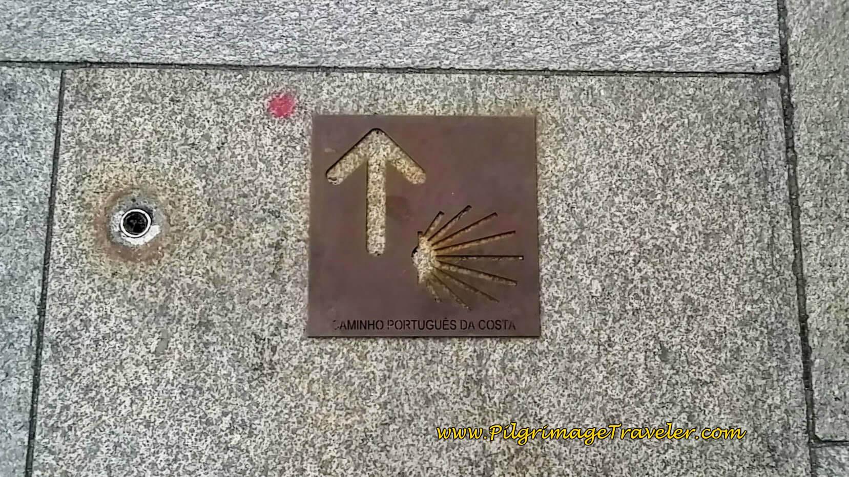 The Coastal Portuguese Camino Waymark in Vila do Conde