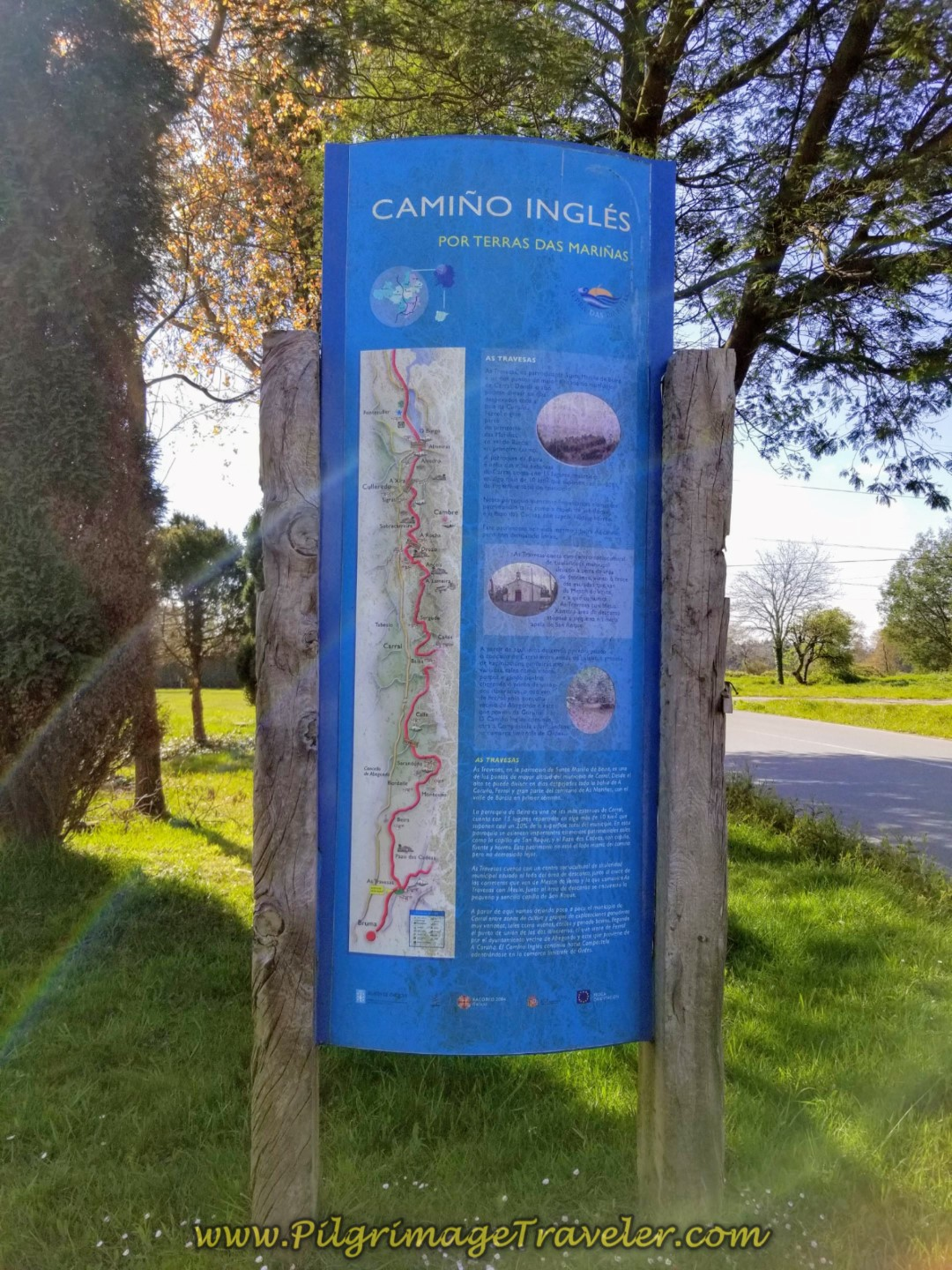Information Board in As Travesas on day two of the La Coruña Arm of the Camino Inglés